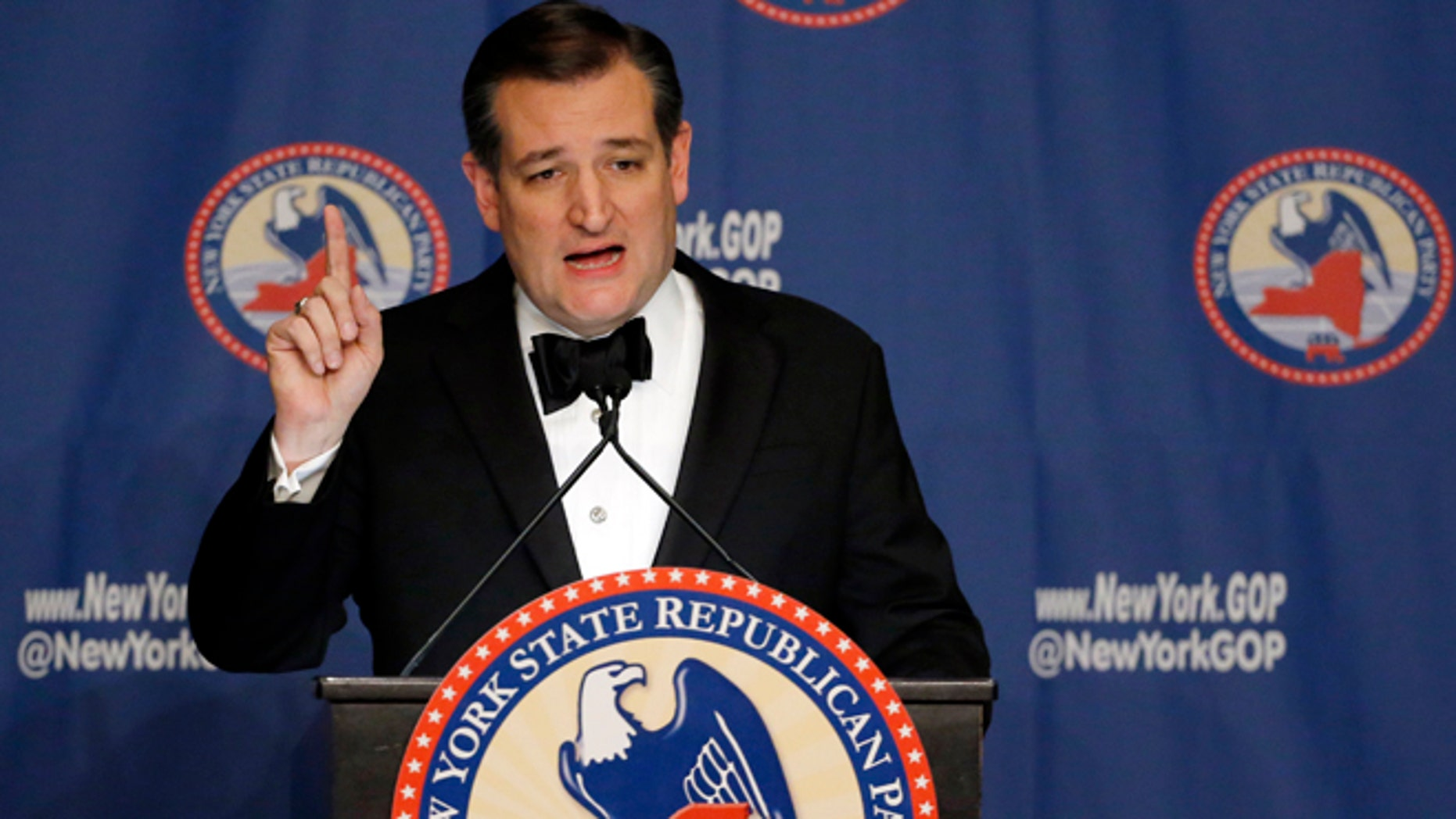 Sen. Ted Cruz at the New York Republican State Committee Annual Gala Thursday, April 14, 2016, in New York.