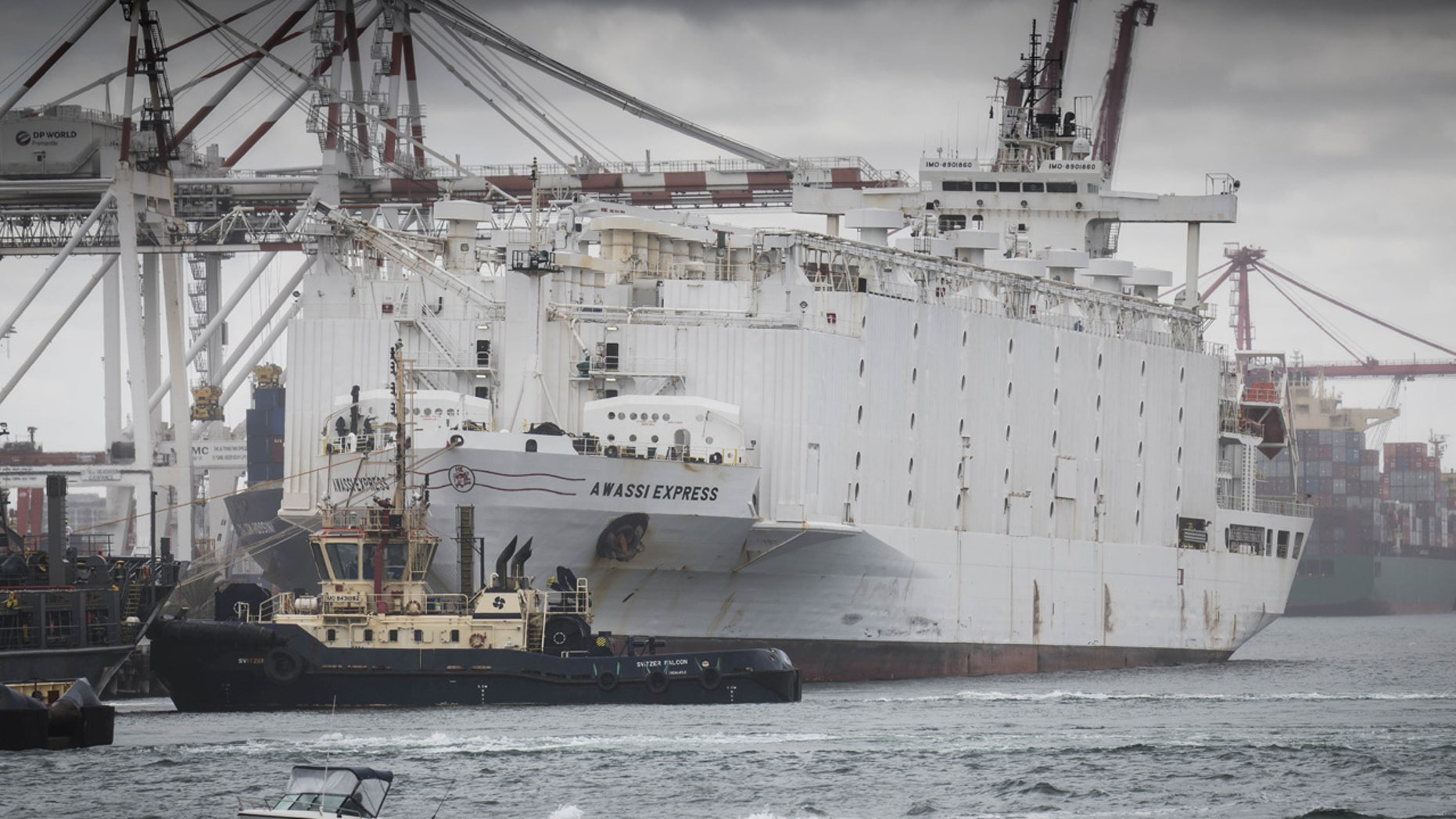 April 9: The Awassi Express is seen docked at the port of Fremantle, Perth, Australia.