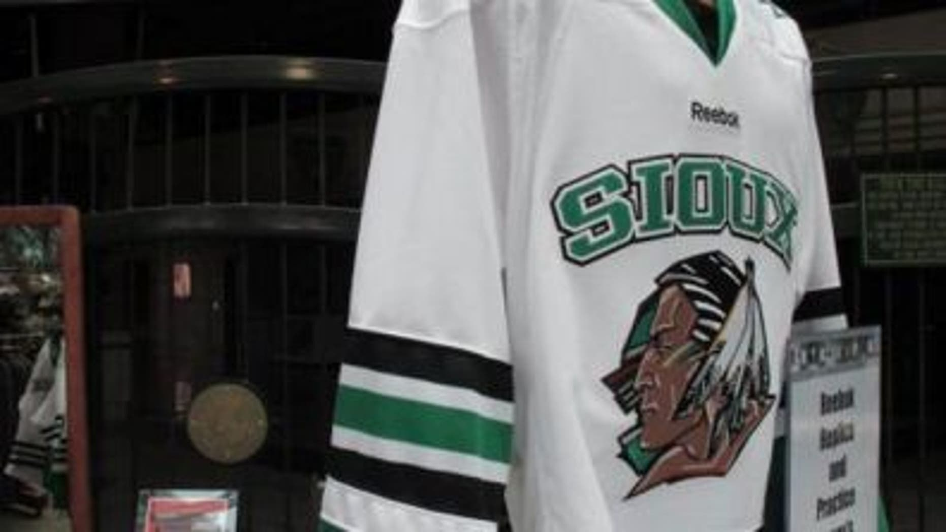 University of North Dakota jersey showing the Fighting Sioux mascot.