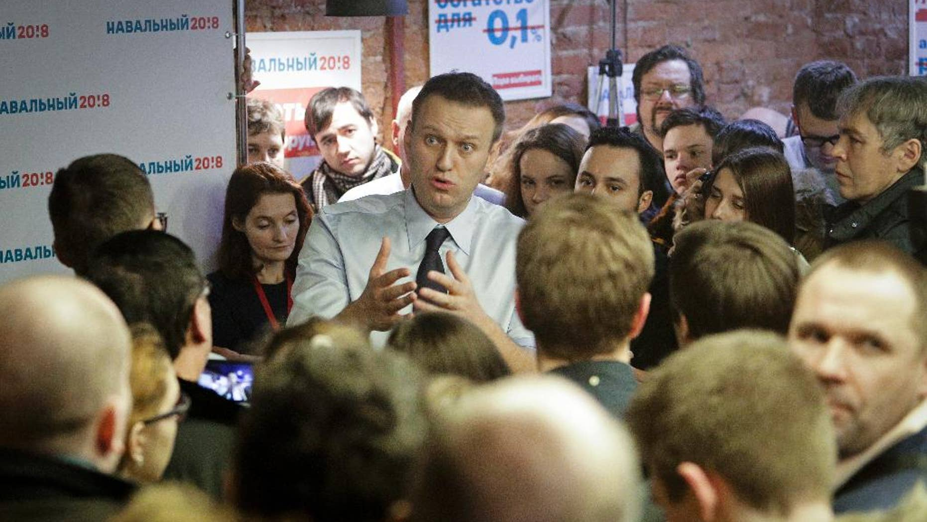 Russian opposition leader Alexei Navalny speaking with supporters at the opening of his campaign office in St. Petersburg last Saturday.