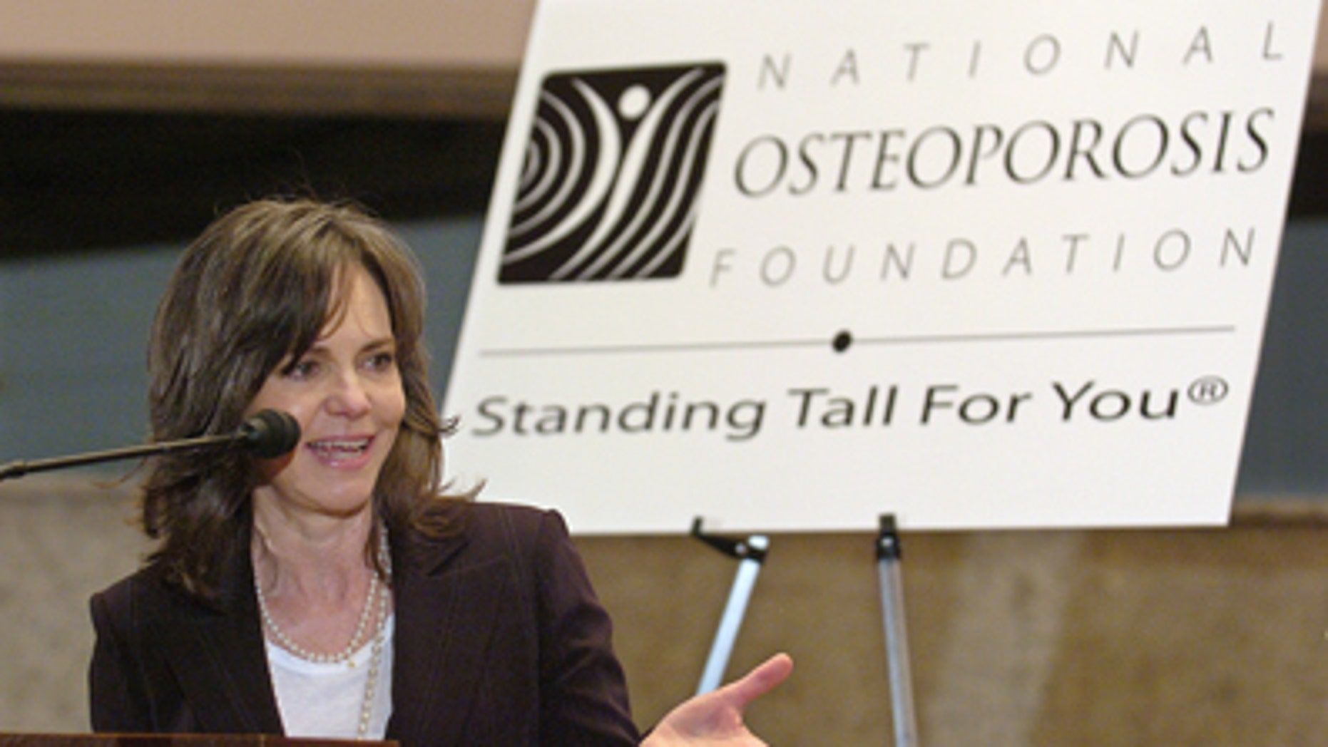 Academy Award-winning actress Sally Field makes remarks at a Capitol Hill briefing on her fight against osteoporosis in Washington in 2007.