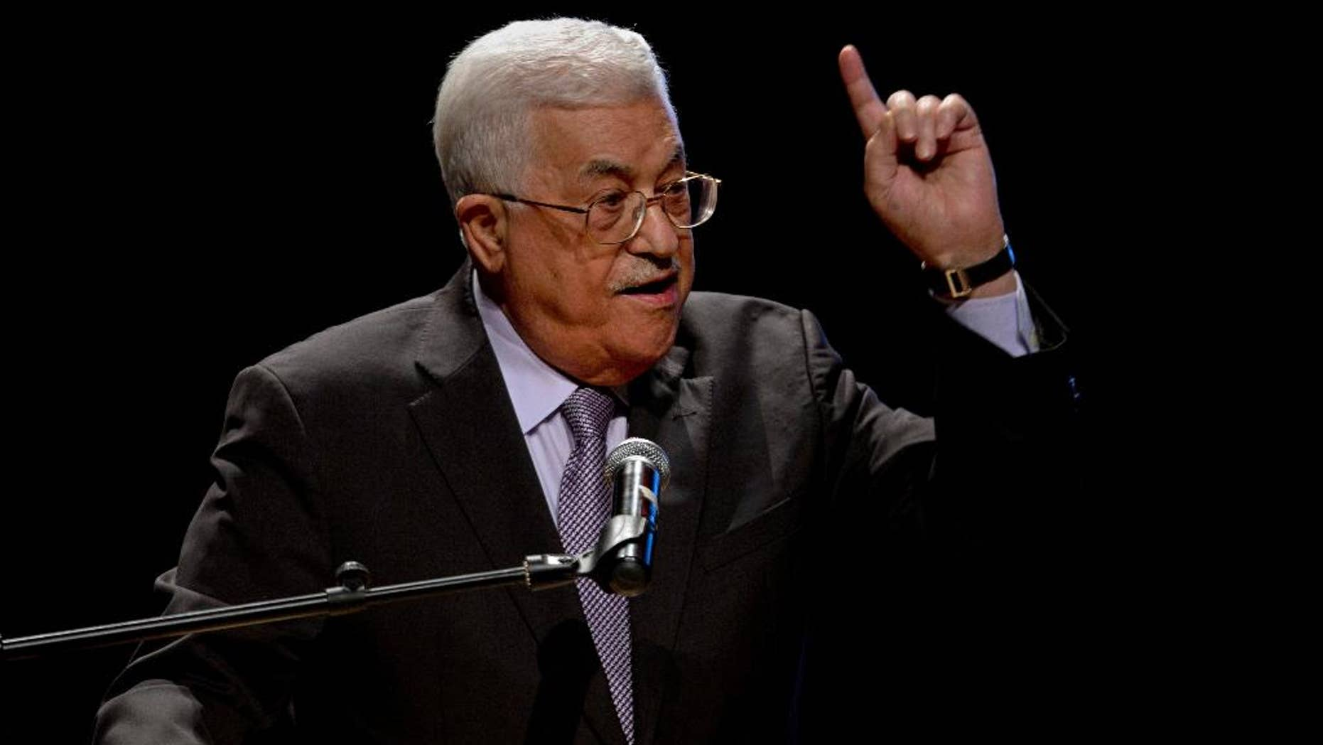 "FILE -- In this Oct. 1, 2016 file photo, Palestinian President Mahmoud Abbas, speaks during a conference in the West Bank City of Bethlehem. Abbas told Palestinian diplomats in Bahrain on Wednesday, April 12, 2017, that  he will take ""unprecedented steps"" to end the political division between his West Bank-based autonomy government and the Hamas-run Gaza Strip. Measures will likely include more financial pressure on Gaza, after he recently slashed salaries of 60,000 ex-civil servants and members of the security forces by one-third. (AP Photo/Majdi Mohammed, File)"