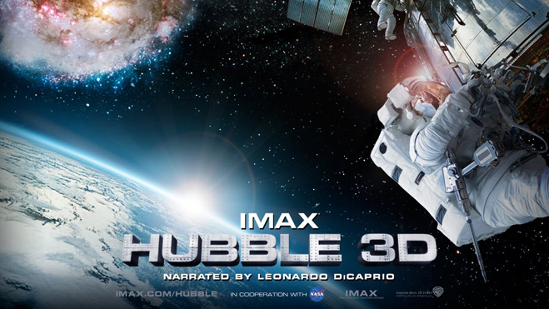 "A movie poster for the Imax film ""Hubble 3D."""