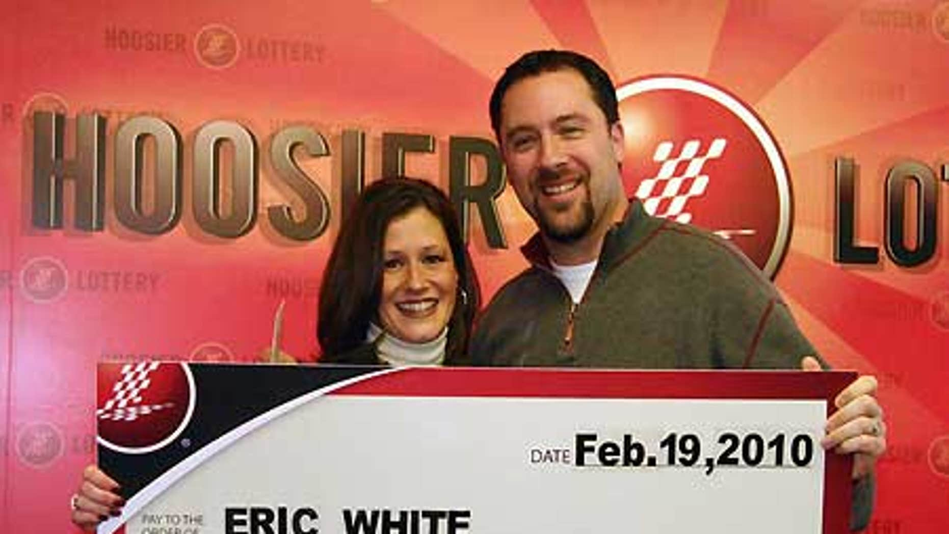 Feb. 19: This picture provided by the Hoosier Lottery shows Lori and Eric White in Indianapolis.