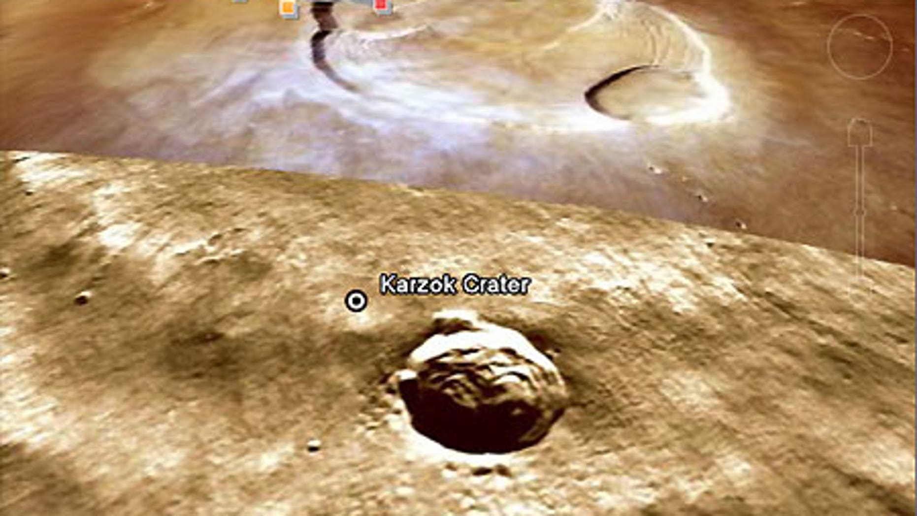 Karzok Crater on Mars in Google Earth.