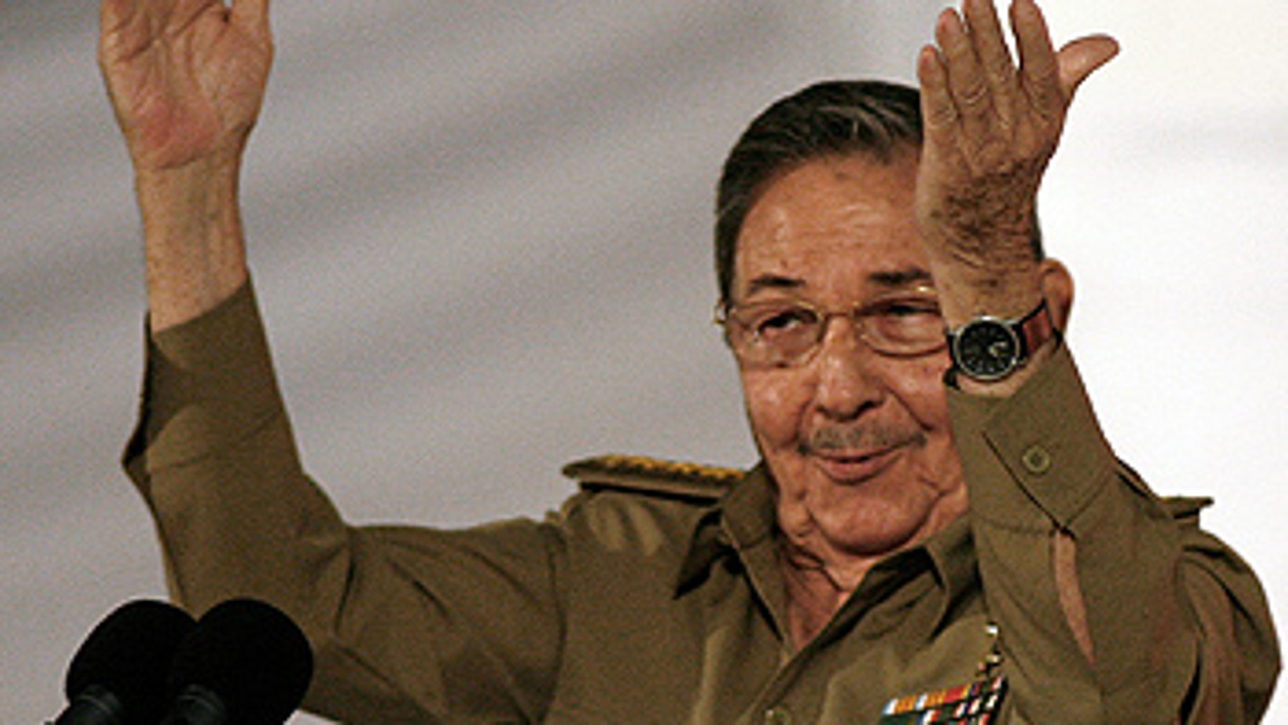 Jan. 1: President of Cuba, Raul Castro speaks during the 50th anniversary celebration of the Cuban Revolution at the main plaza in Santiago, Cuba.