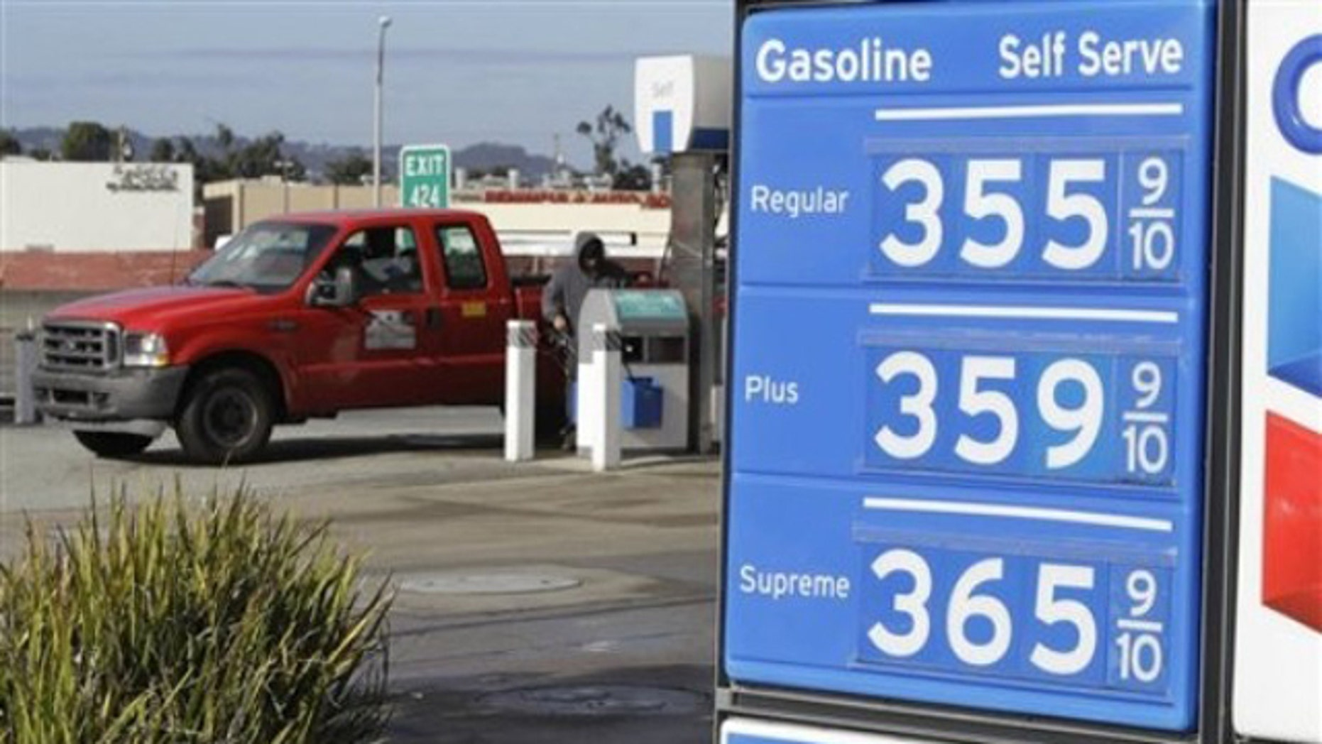In this Nov. 23 photo, gas prices are displayed at a Chevron gas station in San Francisco.
