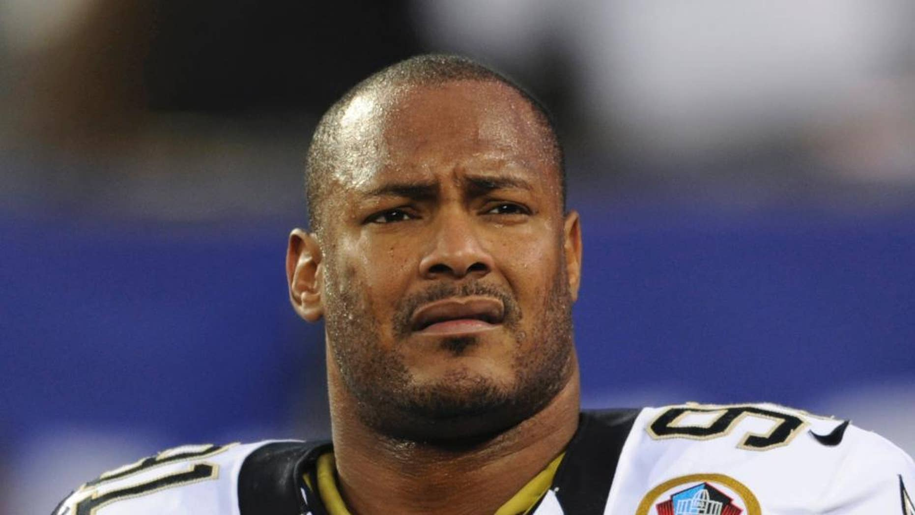 Dec. 9, 2012: New Orleans Saints defensive end Will Smith appears before an NFL football game against the New York Giants in East Rutherford, N.J.
