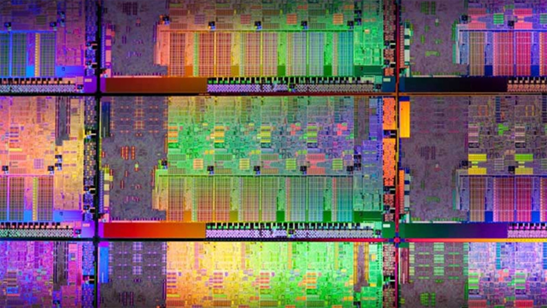 """A die shot of an Intel CPU, codenamed """"Sandy Bridge,"""" which promised the biggest-ever leap in processing power."""