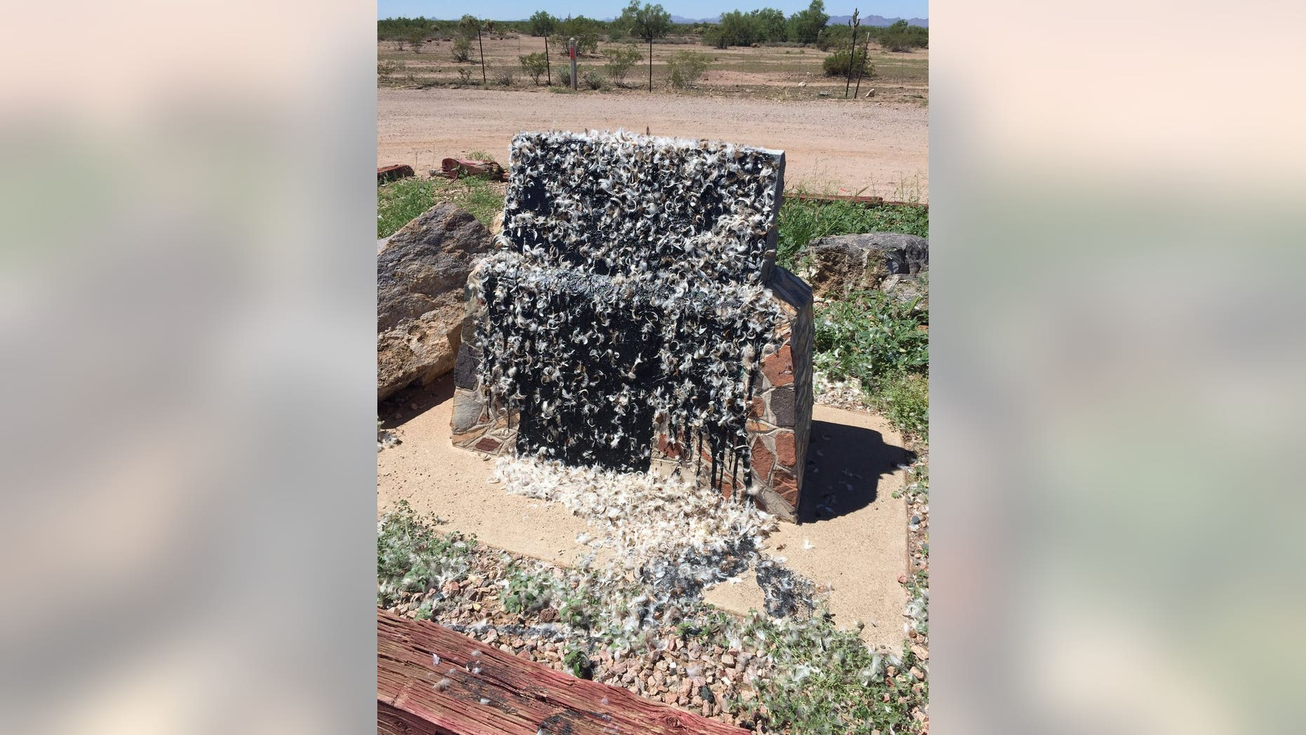 A Confederate monument located on a highway in Arizona was vandalized, tarred and feathered.