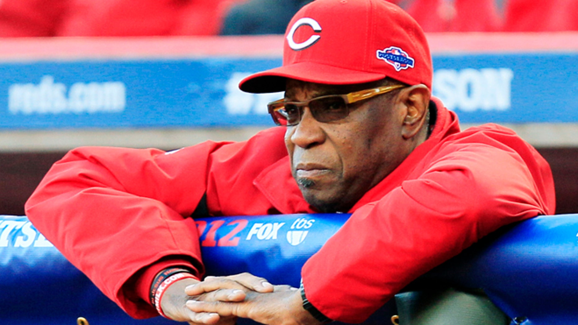 Oct. 9, 2012: Cincinnati Reds manager Dusty Baker watches from the dugout in the first inning during Game 3 of the National League division baseball series against the San Francisco Giants in Cincinnati.