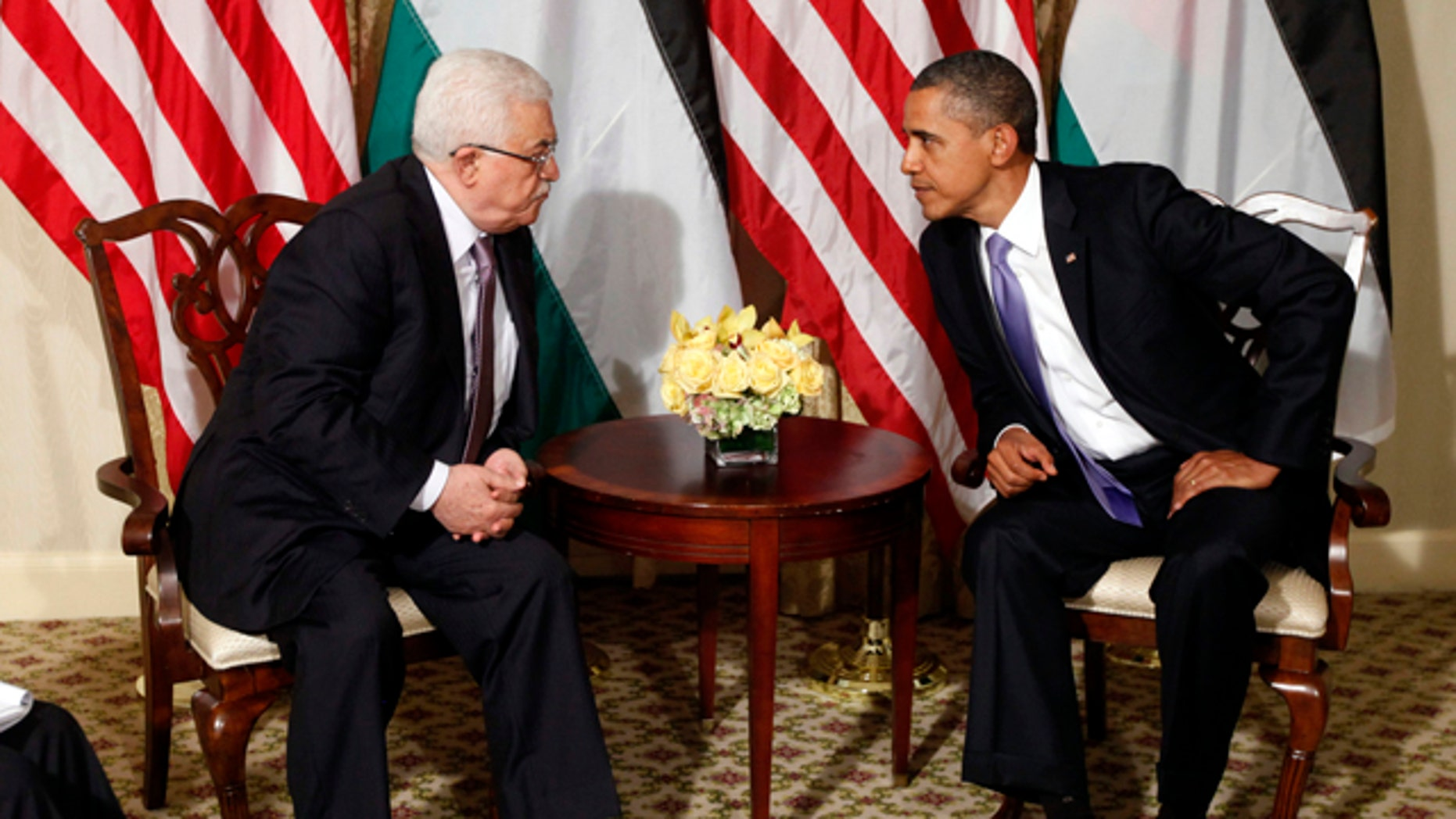 Sept. 21: President Obama talks with Palestinian President Mahmoud Abbas during a meeting in New York.