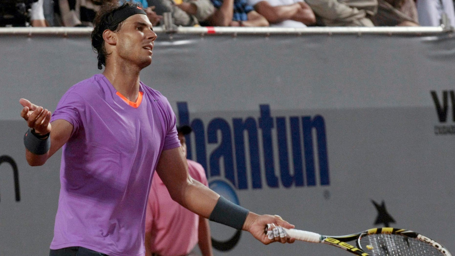 Spain's Rafael Nadal reacts during the VTR Open final tennis game against Argentina's Horacio Zeballos in Vina del Mar, Chile, Sunday, Feb. 10, 2013.