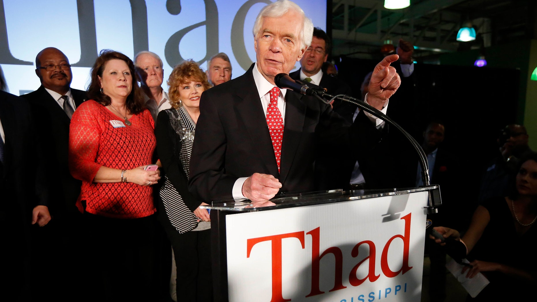 June 24, 2014: U.S. Sen. Thad Cochran, R-Miss., addresses supporters and volunteers at his runoff election victory party.