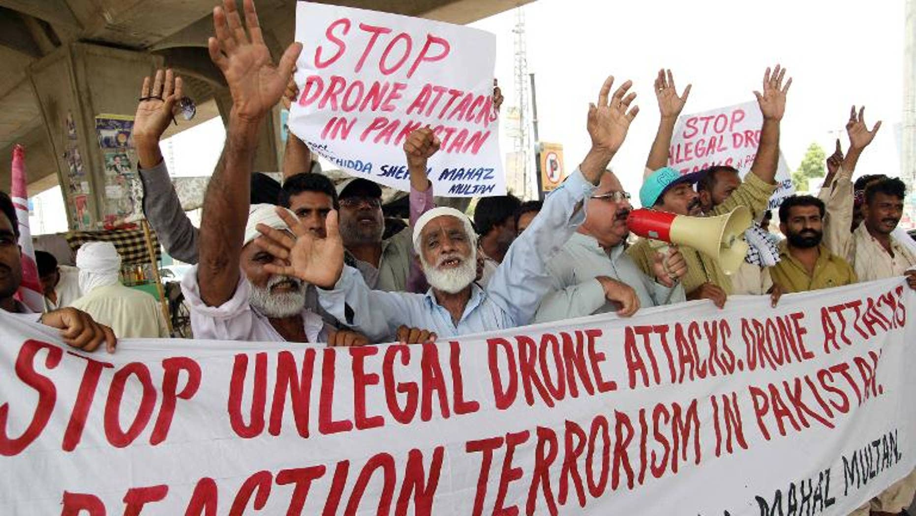 Pakistani demonstrators protest against US drone strikes in tribal areas, on July 14, 2013