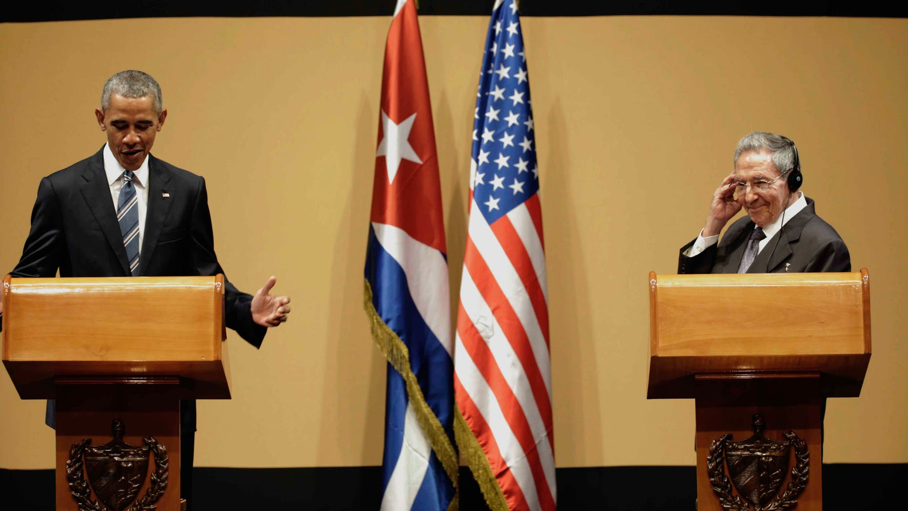 Presidents Obama and Castro during a joint statement in Havana, Cuba, Monday, March 21, 2016.