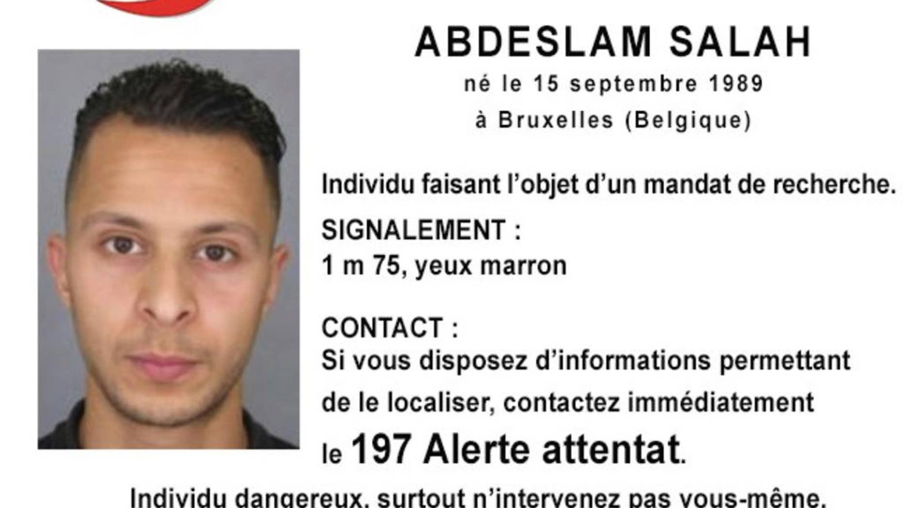 This undated file photo released Friday, Nov. 13, 2015, by French Police shows 26-year old Salah Abdeslam, who is wanted by police in connection with recent terror attacks in Paris, as police investigations continue. Belgian prosecutors confirmed Wednesday April 27, 2016 that Paris attacks suspect Salah Abdeslam was handed over to French authorities. (Police Nationale via AP)