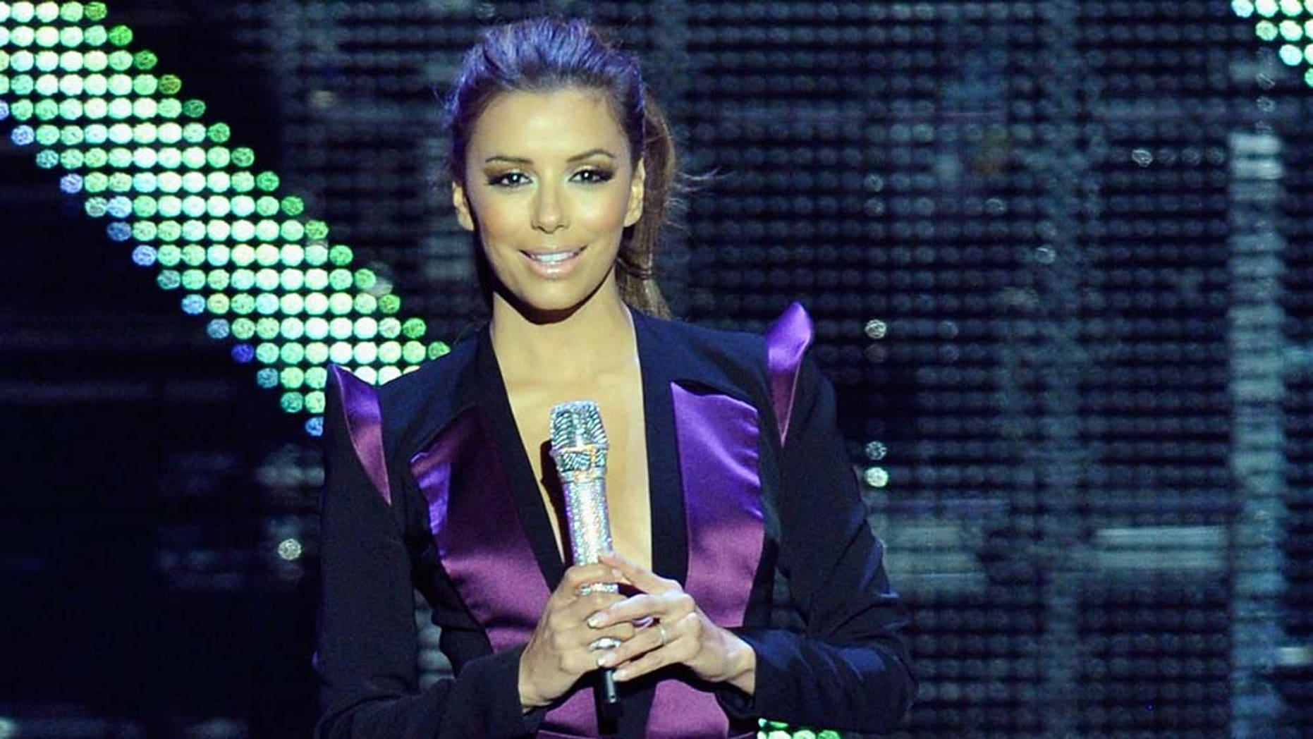 MADRID, SPAIN - NOVEMBER 07:  Host Eva Longoria Parker on stage during the MTV Europe Music Awards 2010 live show at La Caja Magica on November 7, 2010 in Madrid, Spain. (Photo by Gareth Cattermole/Getty Images)