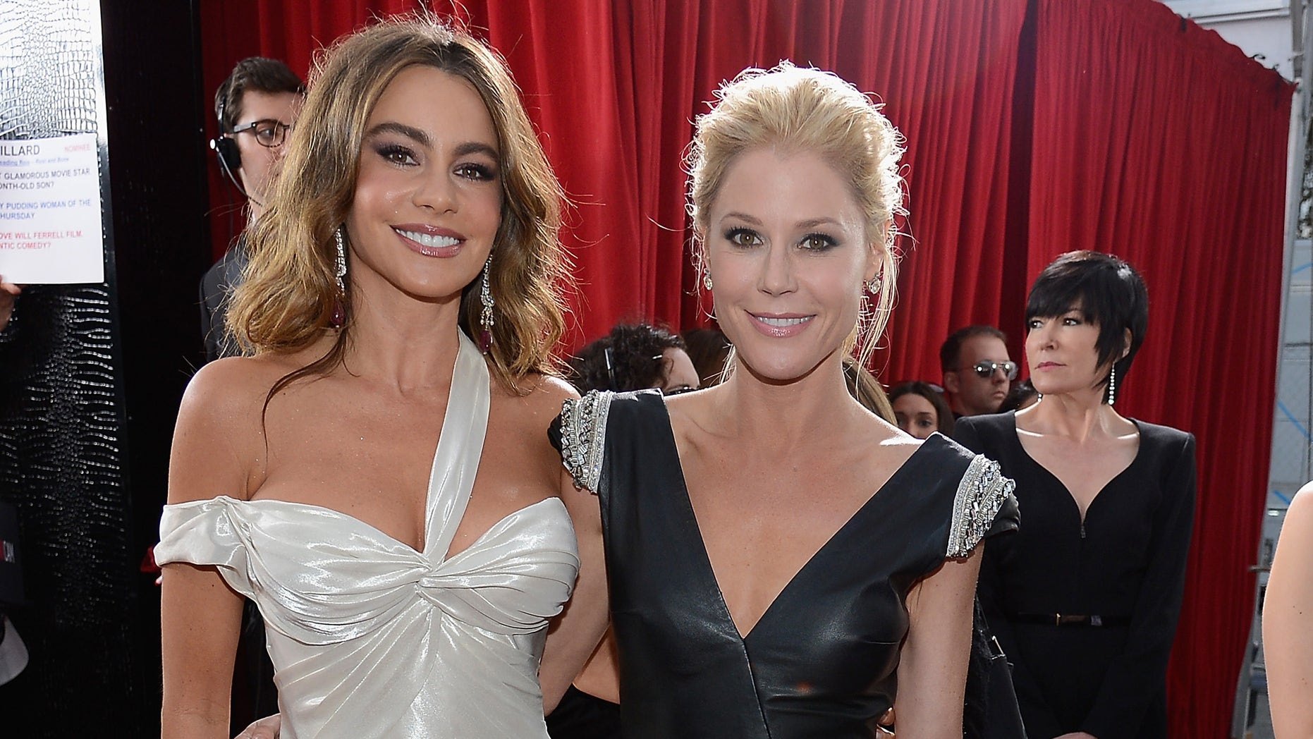 LOS ANGELES, CA - JANUARY 27: Actors Sofia Vergara and Julie Bowen arrives at the 19th Annual Screen Actors Guild Awards held at The Shrine Auditorium on January 27, 2013 in Los Angeles, California.  (Photo by Kevork Djansezian/Getty Images)