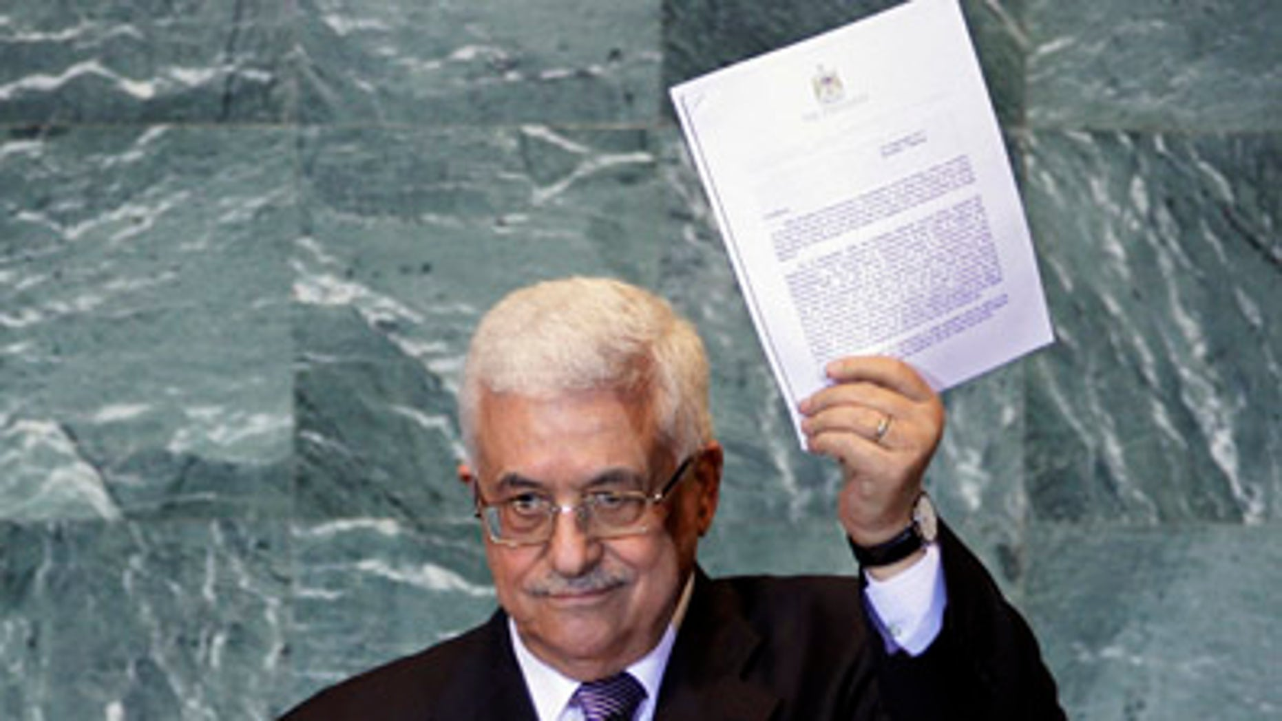 Sept. 23: Palestinian President Mahmoud Abbas holds a letter requesting recognition of Palestine as a state as he addresses the 66th session of the United Nations General Assembly at UN Headquarters.