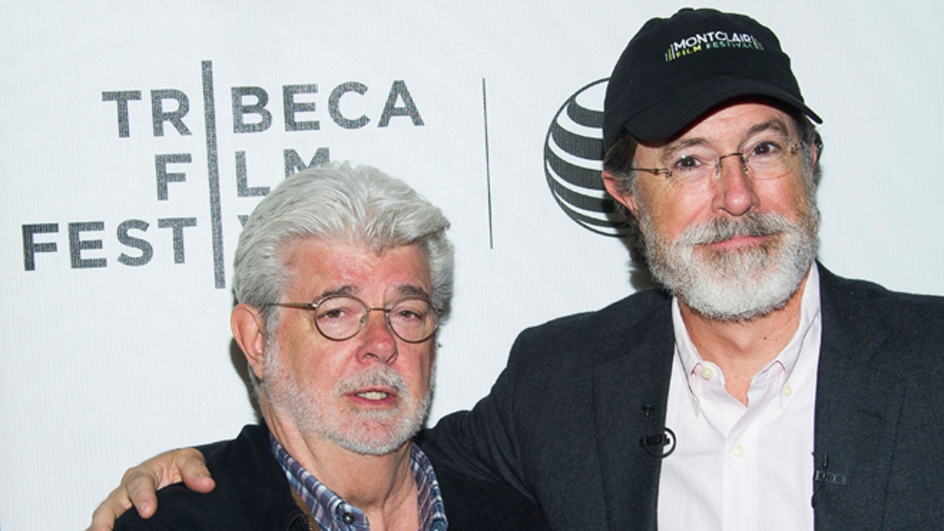 April 17, 2015. George Lucas, left, and Stephen Colbert attend the Tribeca Talks: Director Series during the Tribeca Film Festival at the BMCC Tribeca Performing Arts Center in New York.