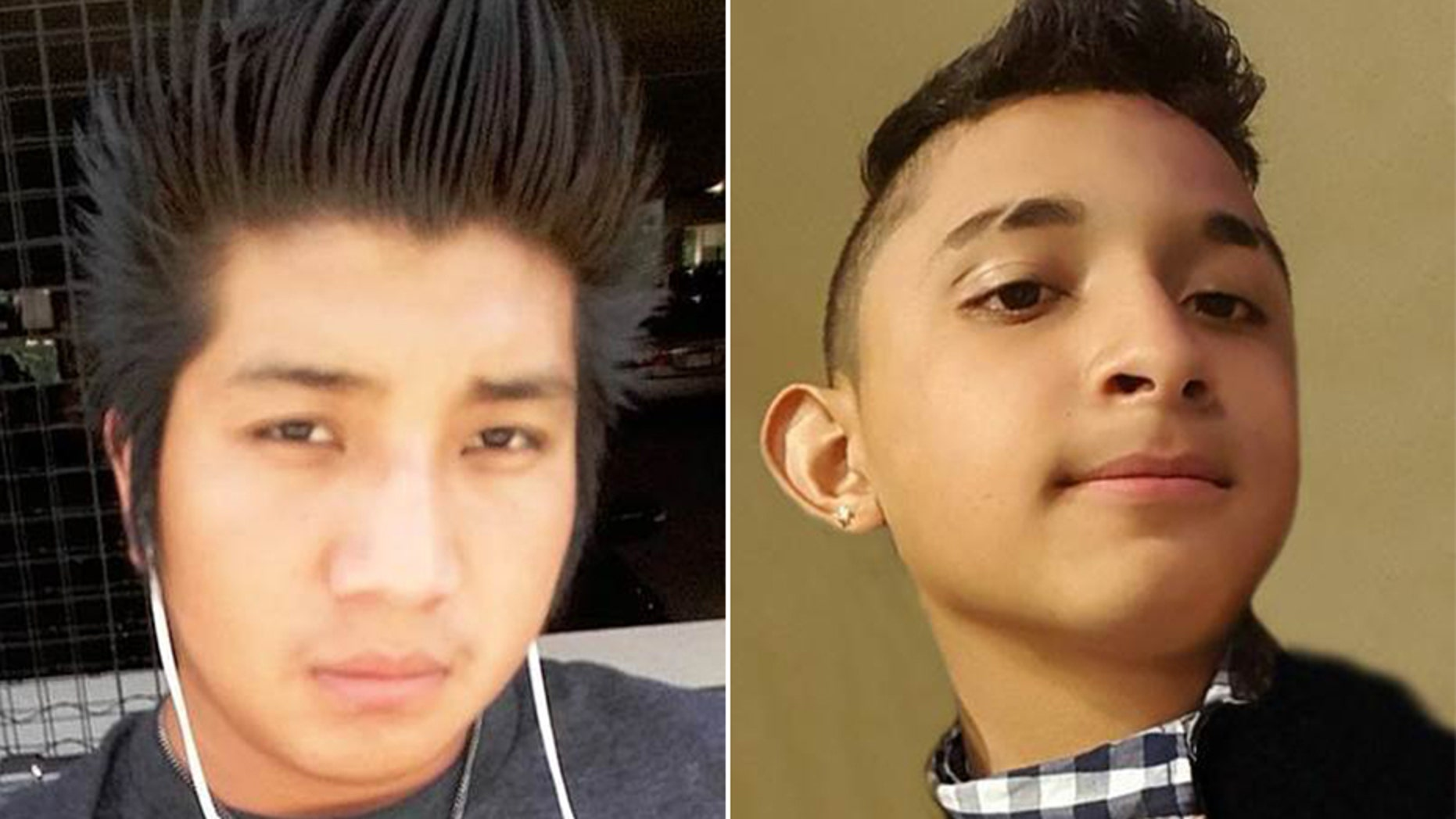 Edvin Escobar Mendez, 17, of Falls Church, left, and Sergio Arita Triminio, 14, of Alexandria, were found dead last year. Eleven MS-13 gang members have been charged Friday in their deaths.