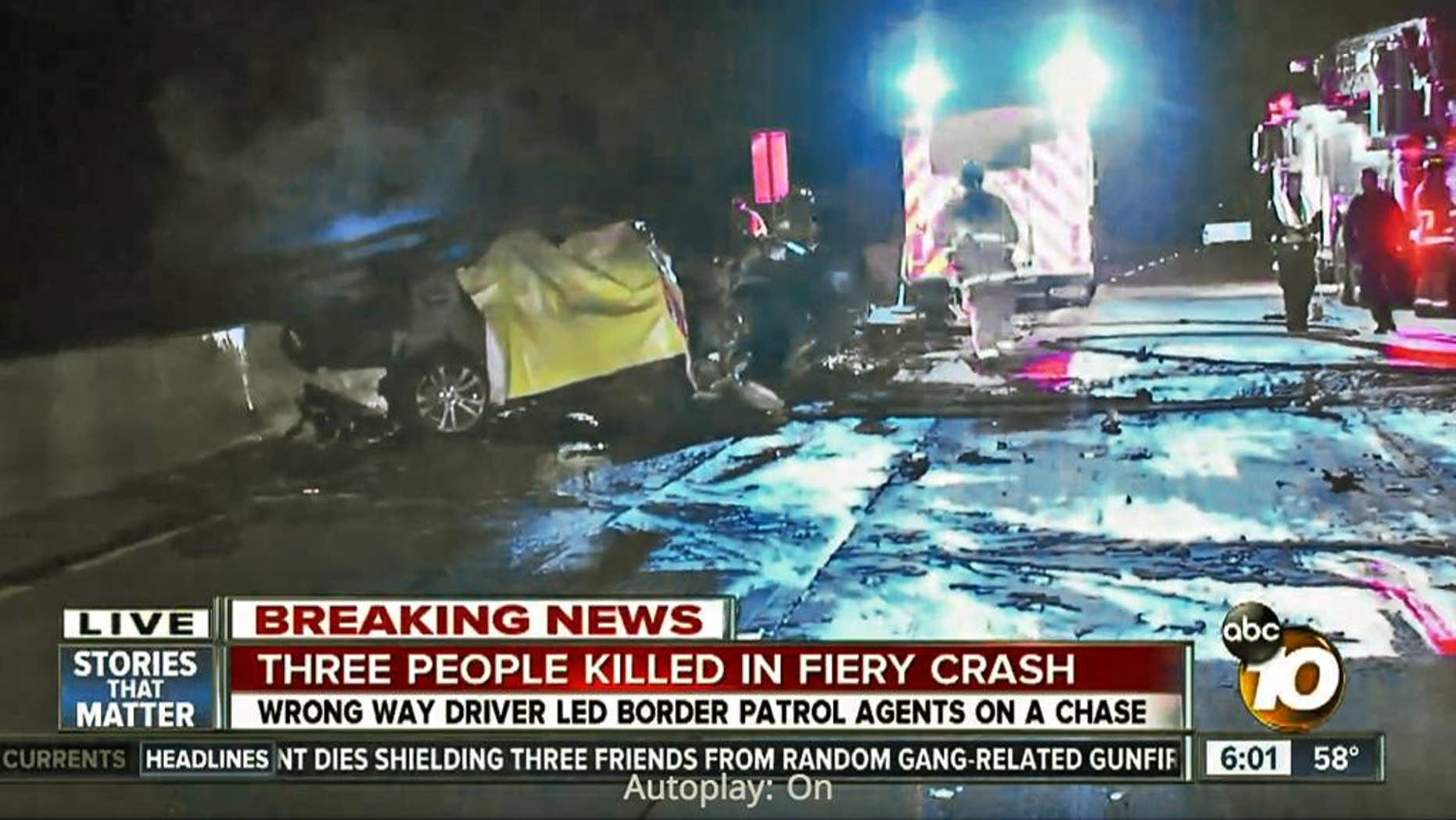 In this frame from video provided by KGTV-10News.com, a yellow tarp covers a body at the scene of a head-on collision caused by a wrong-way driver on Interstate 5 near Solana Beach, Calif., early Sunday, Dec. 20, 2015. A Mercedes was traveling south on Interstate 5 when it made a U-turn at the San Ysidro border crossing into Mexico, south of San Diego, and began traveling north in the southbound lanes, California Highway Patrol spokesman Jim Bettencourt said. (KGTV-10News.com via AP) TV OUT, MANDATORY CREDIT