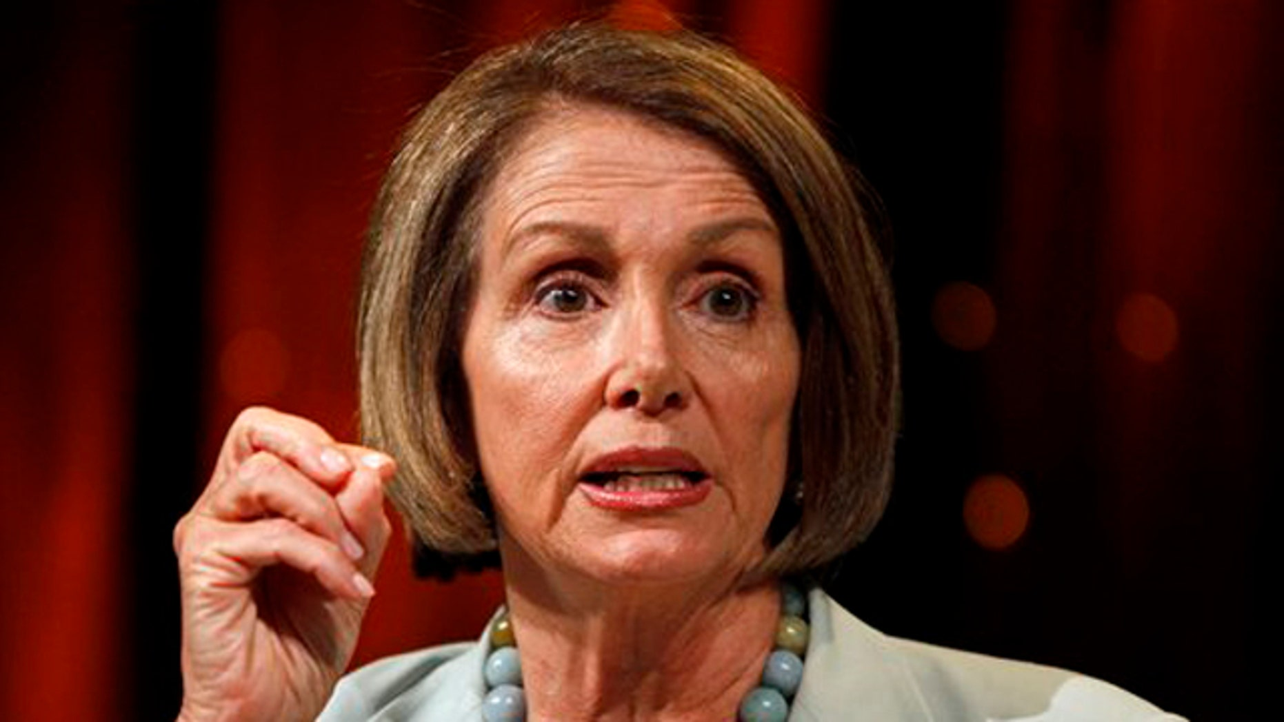 House Speaker Nancy Pelosi answers questions during a Netroots Nation convention in Las Vegas on July 24. (AP Photo)