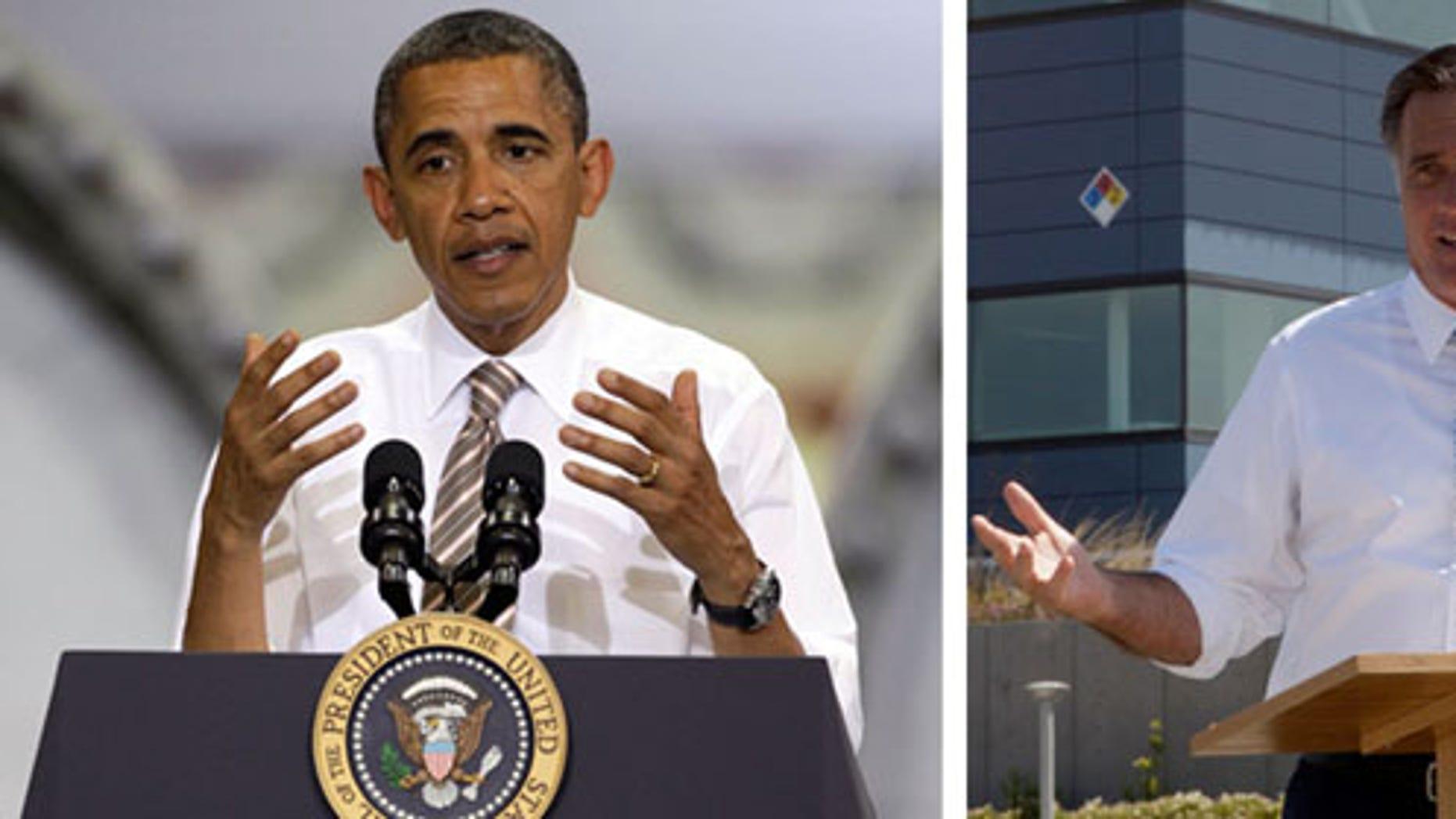 President Barack Obama, left, and Republican presidential candidate Mitt Romney.