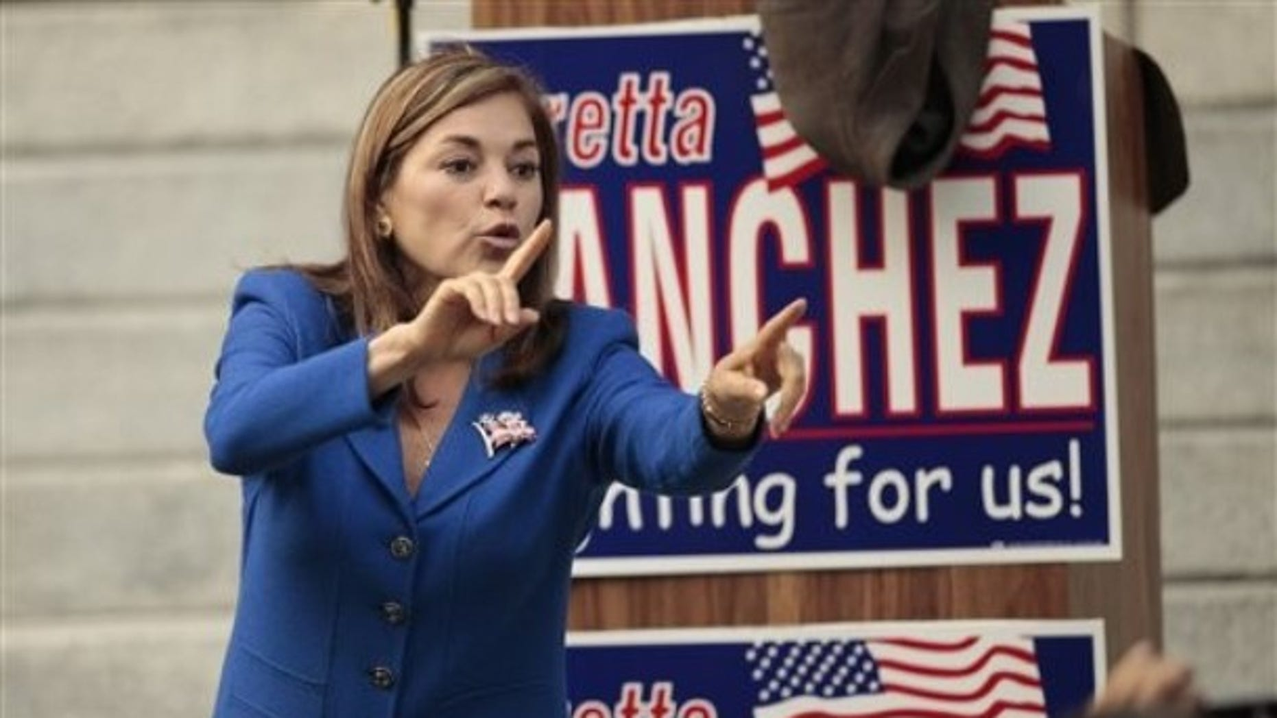 Rep. Loretta Sanchez, D-Calif. , speaks to supporters on Friday, Oct. 15, 2010, outside the Old Orange County Courthouse in Santa Ana, Calif. (AP)