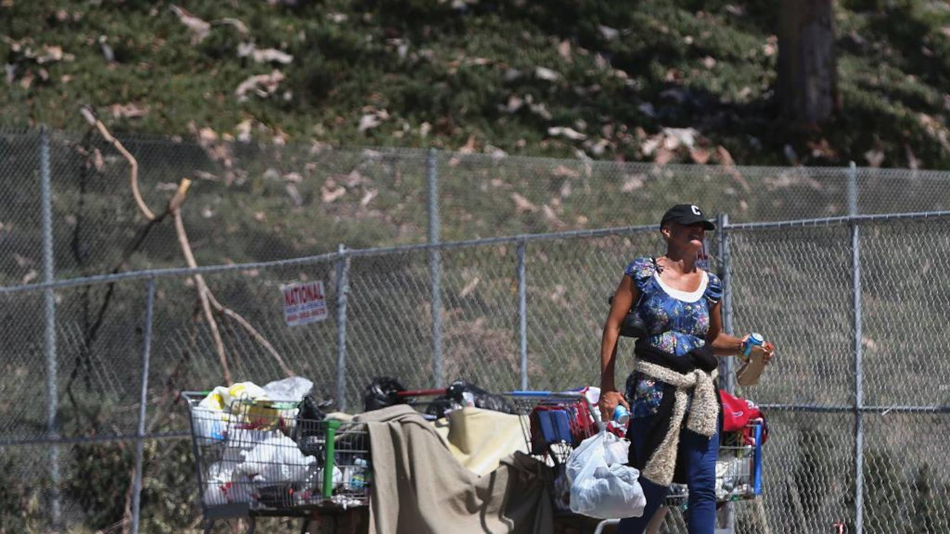 A woman keeps her belongings in shopping carts near an underpass where homeless people sleep Wednesday, July 6, 2016, in San Diego. Another San Diego homeless man was seriously injured early Wednesday by an attacker police say struck while he was asleep and tried to set him on fire, the latest in a spate of attacks on transients that have left two dead. (AP Photo/Lenny Ignelzi)