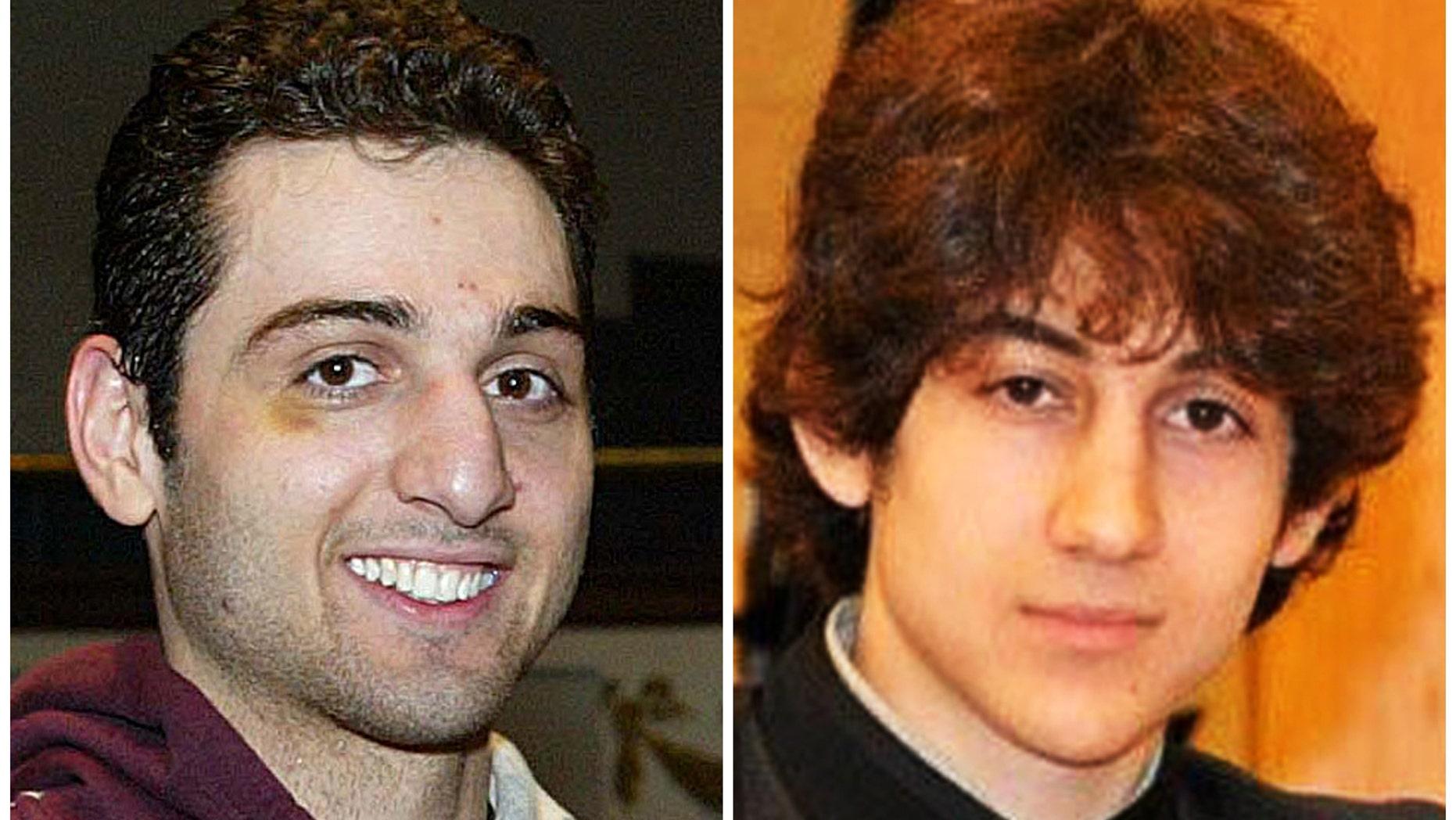 This composite of undated file photos shows Boston Marathon bombing suspects Tamerlan Tsarnaev, left, and Dzhokhar Tsarnaev.