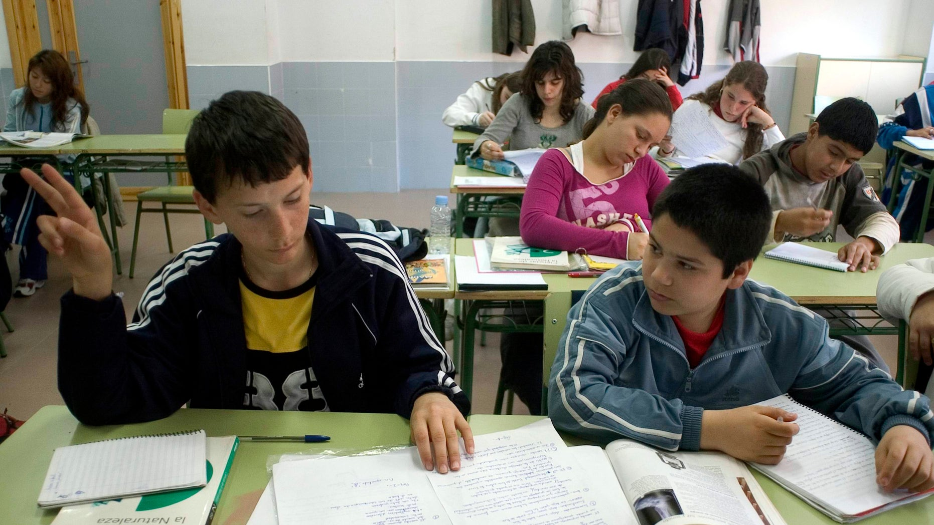 Inmigrants at school. Inmigrant children from several nacionalities in a Madrid school.  (Photo by Mariana Silvia Eliano/Cover/Getty Images)