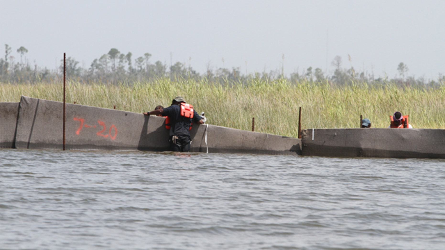 Workers double-check X-Tex fencing in the marsh along Campbell Outside Bayou near the Pearl River in Hancock County, Miss., on Friday, July 23, 2010. Put in place by contractor Environmental Protection Systems, the fencing is being used as a containment to protect Mississippi marsh areas and shorelines from the oil spill in the Gulf. Workers along the Mississippi Gulf Coast are securing oil spill protection systems ahead of the expected arrival of Tropical Storm Bonnie. (AP Photo/The Sun Herald, James Edward Bates) TV OUT; ONLINE OUT; MANDATORY CREDIT: MISSISSIPPI PRESS OUT
