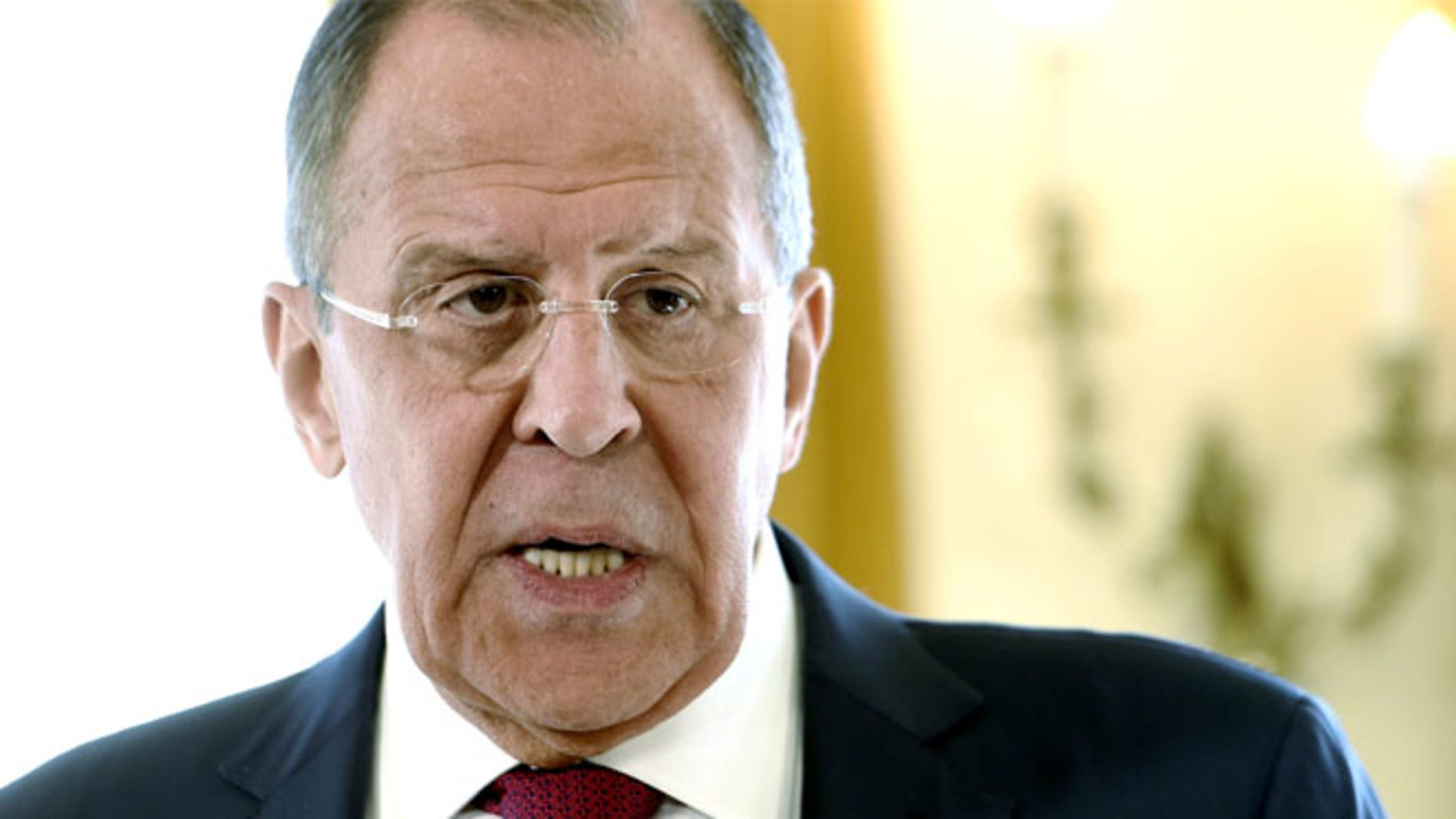 Russian Foreign Minister Sergei Lavrov is seen during the joint press conference with his Finnish counterpart Timo Soini at Hotel Haikko Manor in Porvoo, Finland