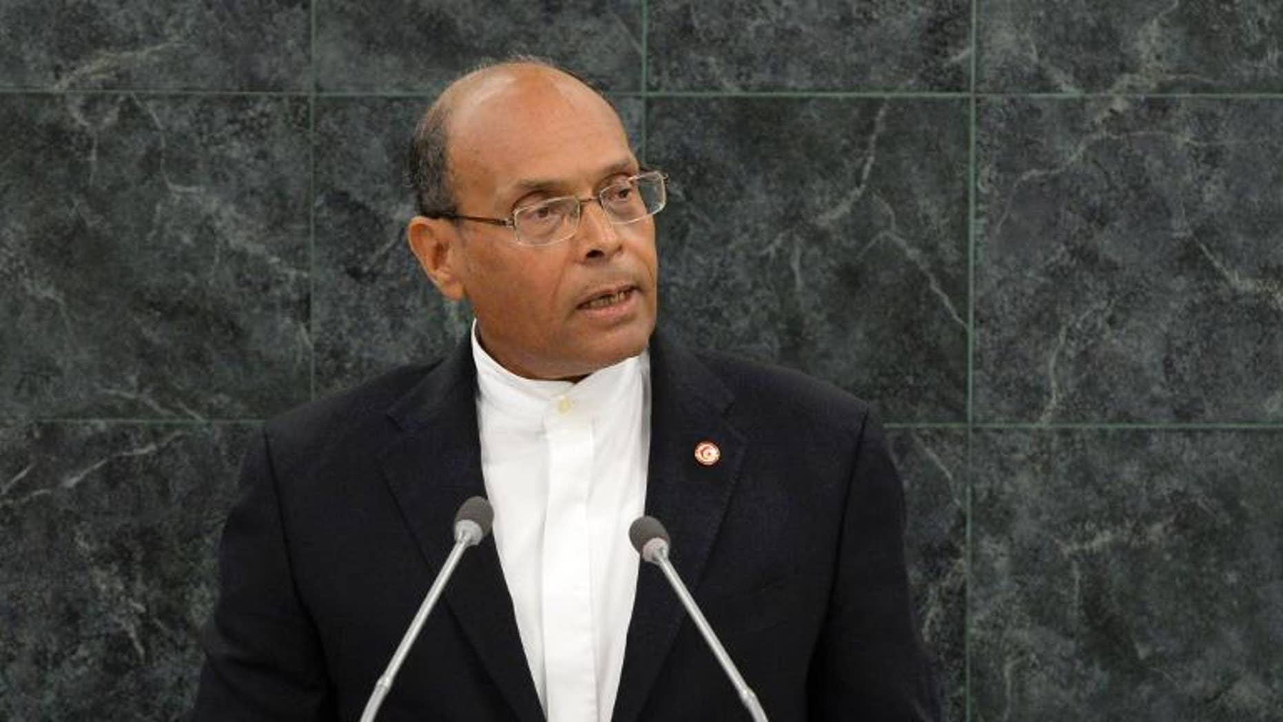 Tunisian president Mohamed Moncef Marzouki addresses the UN General Assembly at the UN headquarters in New York, on September 26, 2013