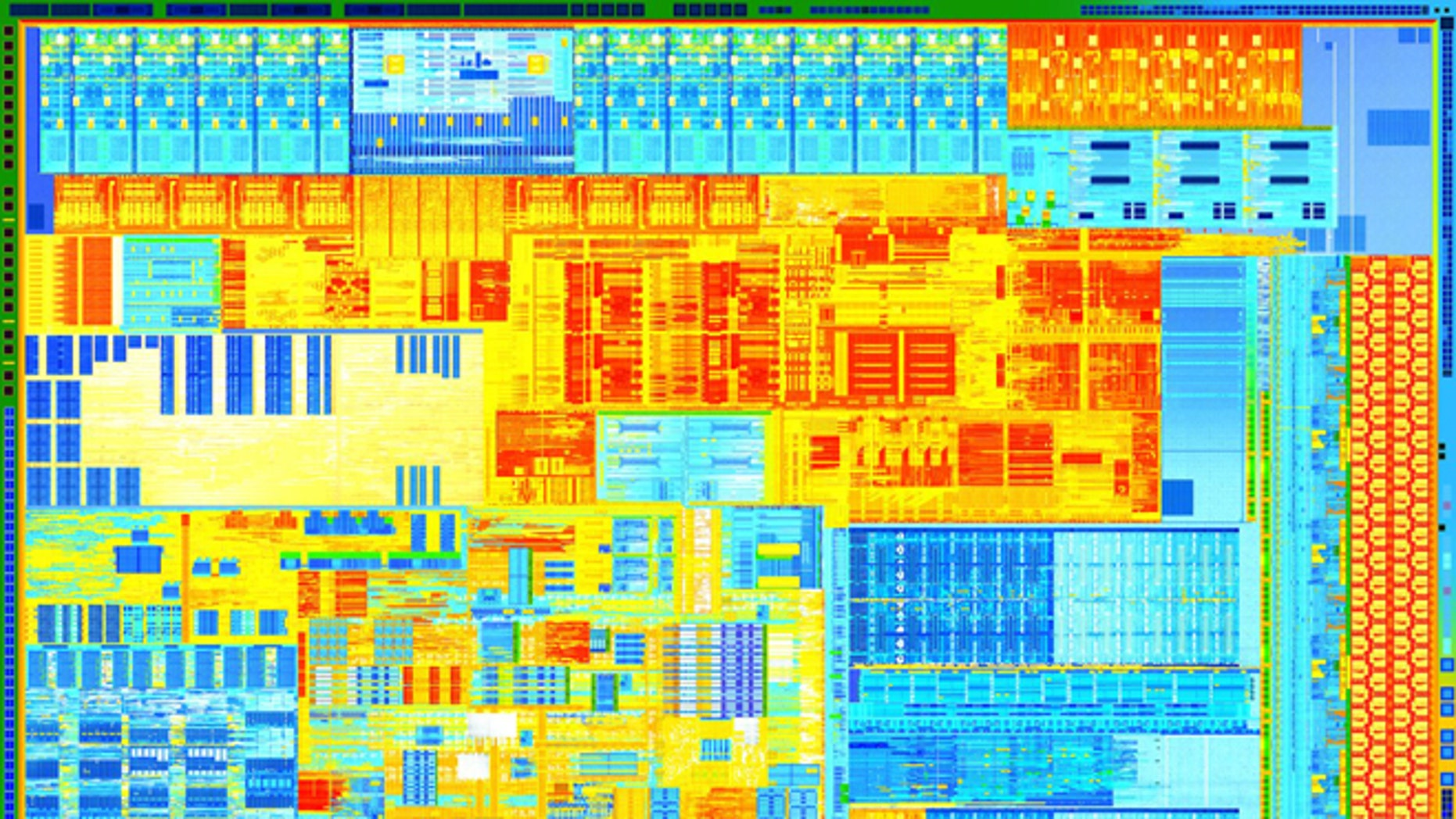 A portion of the latest Intel Core CPU, built off a new 22-nanometer manufacturing process that the company says will fuel Moore's Law for years to come.