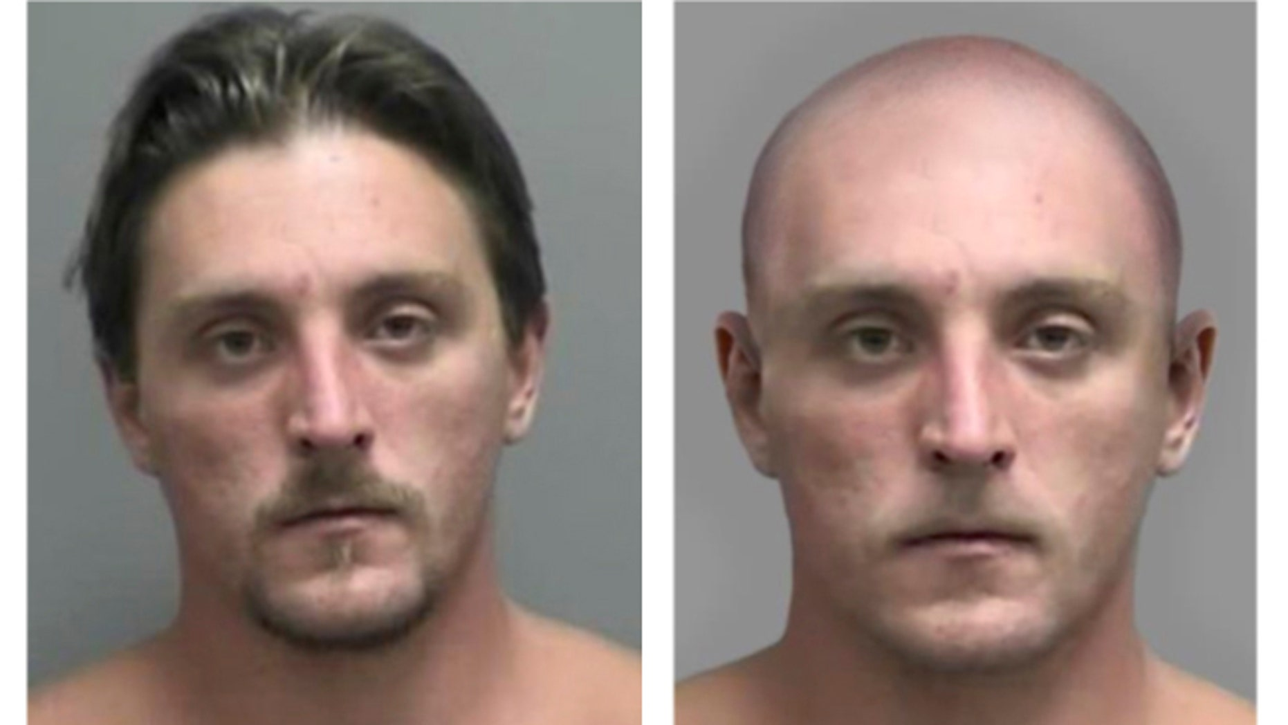 This combo made Tuesday, April 11, 2017, from images provided by the FBI shows Joseph Jakubowski's mug shot at left and an altered image the FBI made to show Jakubowski with his head and facial hair shaved off. Authorities released the modified mug shot of Jakubowski, because the FBI believes he may have altered his appearance. More than 150 state and federal law enforcement officers have been searching for Jakubowski since April 4, when they believe he took 18 firearms from a gun store in Janesville in southwestern Wisconsin. (FBI via AP)