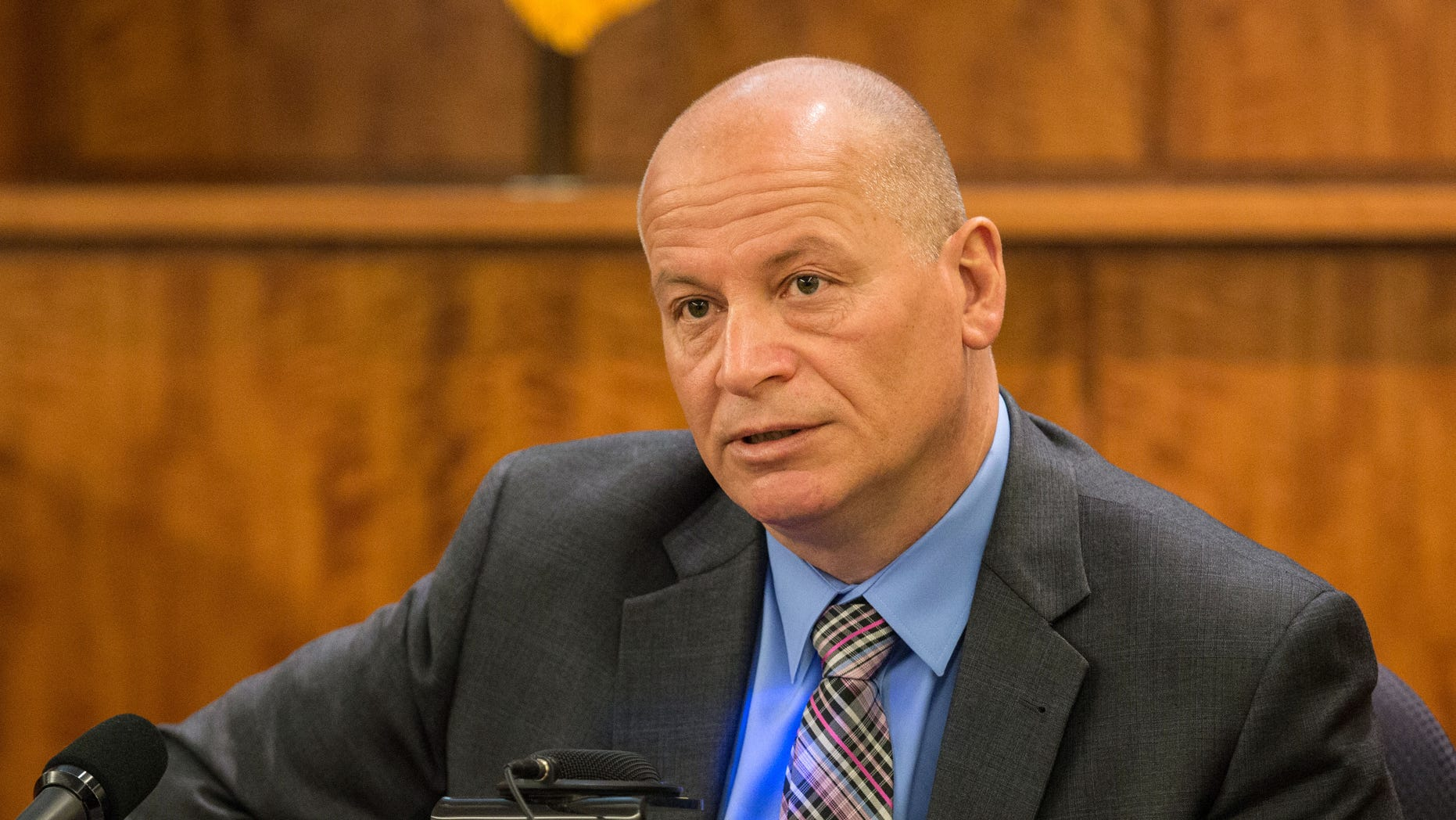 Mark Briggs, New England Patriots' director of security,  testifies during former New England Patriots football player Aaron Hernandez's murder trial, Tuesday, March 31, 2015, at Bristol County Superior Court in Fall River, Mass. Hernandez is accused of killing Odin Lloyd in June 2013.  (AP Photo/The Boston Globe, Aram Boghosian, Pool)