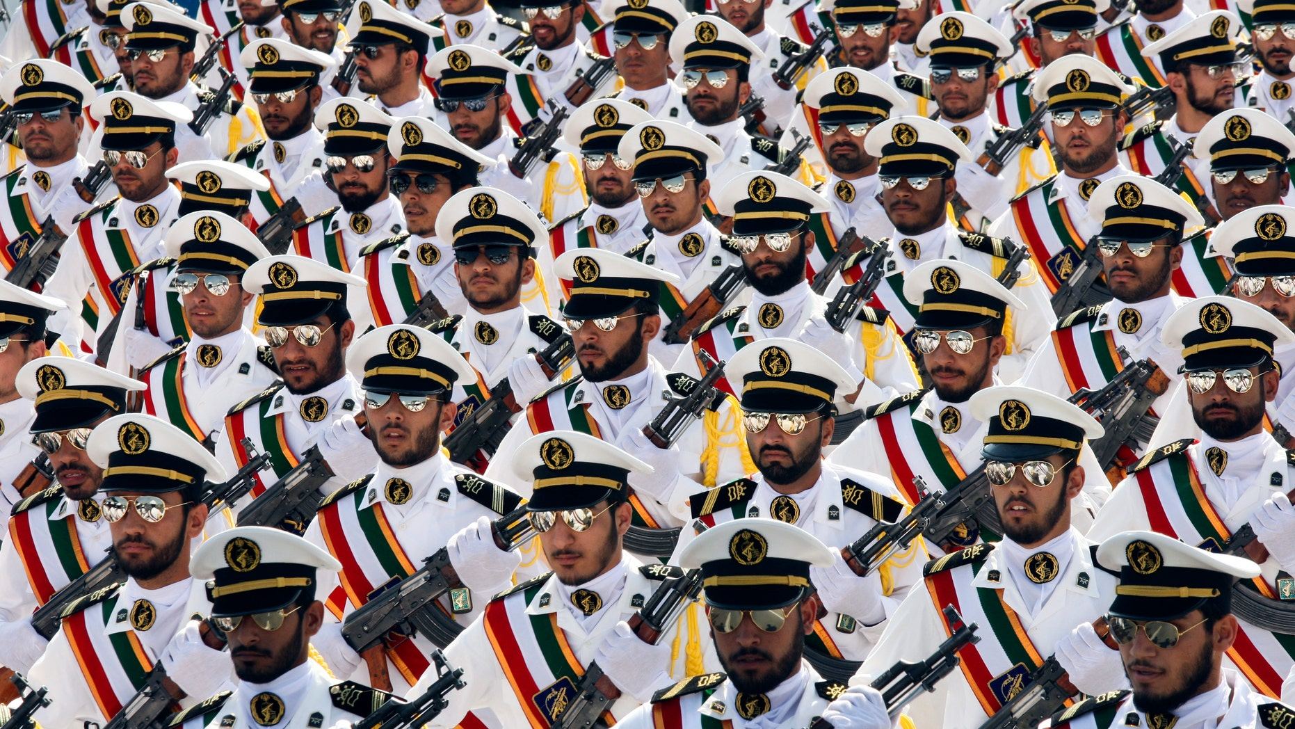 Sept. 22, 2011: Members of the Iranian Revolutionary Guard Navy march during a parade to commemorate the anniversary of the Iran-Iraq war in Tehran.