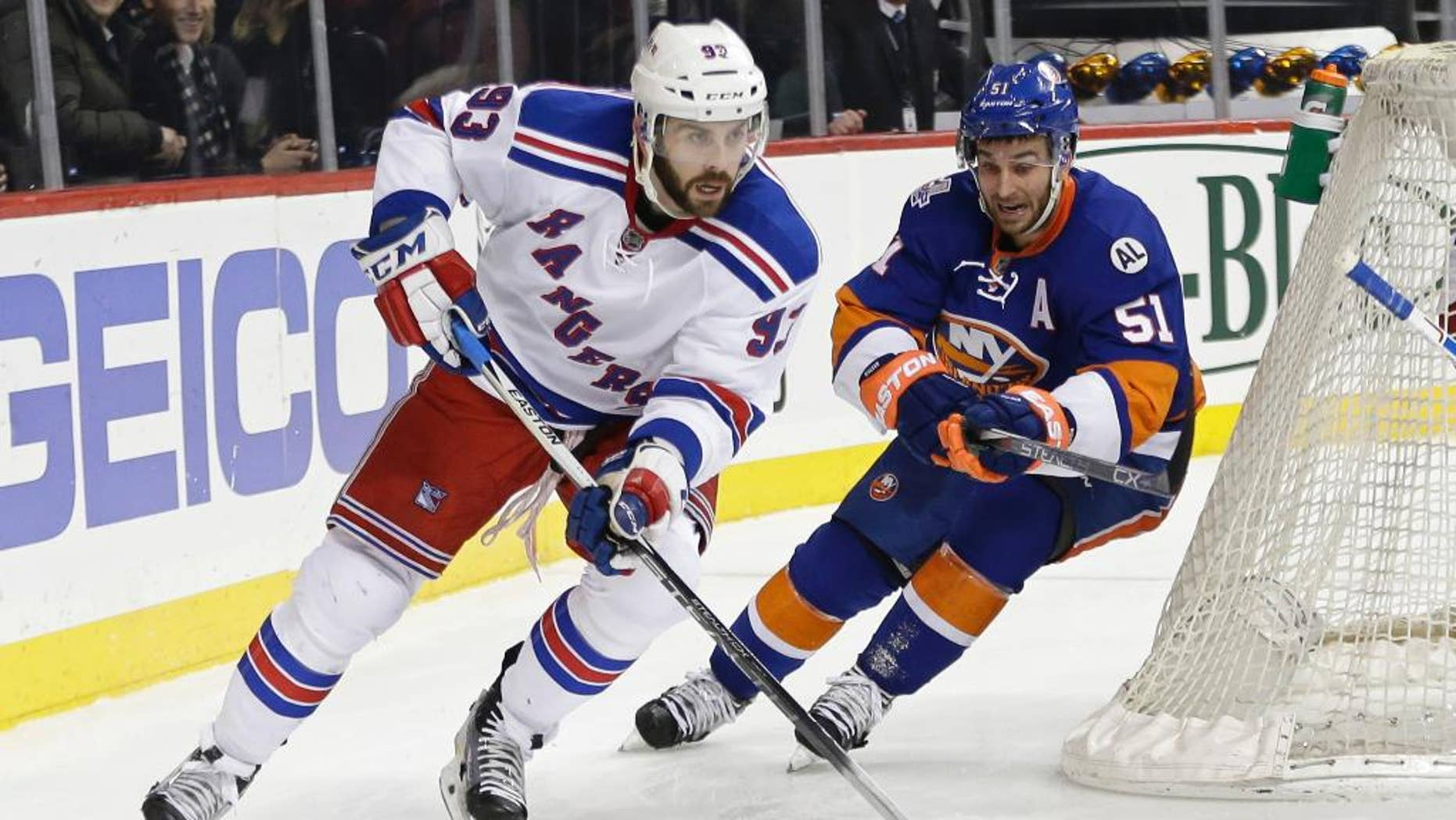 FILE - In this Jan. 14, 2016, file photo, New York Rangers' Keith Yandle (93) works with the puck as New York Islanders' Frans Nielsen (51) follows during an NHL hockey game in New York. Yandle signed with the Florida Panthers early Thursday, June 23, three days after the team acquired the high-scoring defenseman's negotiating rights in a trade with the Rangers. The Panthers sent a sixth-round pick in the draft this week to the Rangers on Monday, and now owes New York a fourth-round pick next year after successfully signing the 29-year-old Yandle. He was set to become an unrestricted free agent July 1. (AP Photo/Frank Franklin II, File)