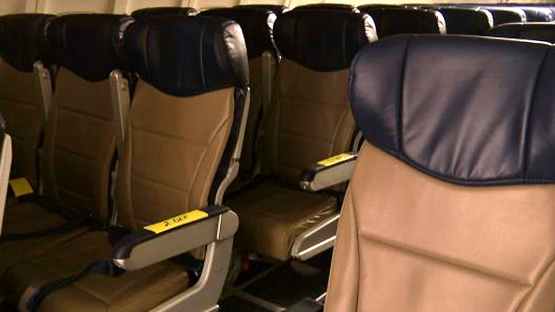 Sept. 23, 2013: Rows of slimline seats await installation onboard a Southwest Airlines 737 at the carrier's headquarters in Dallas.