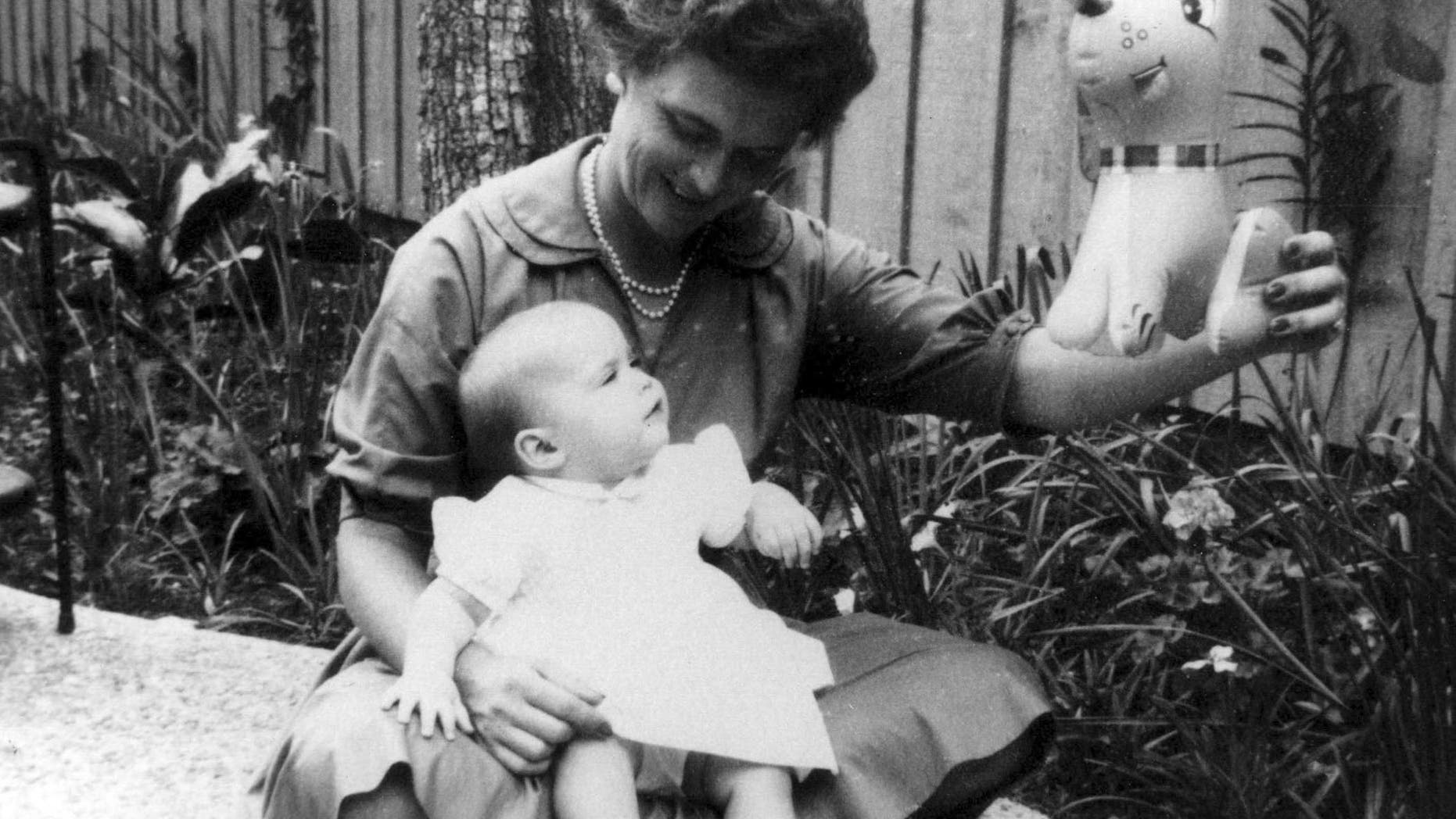 Barbara and her daughter, Doro, Easter, April 1960.