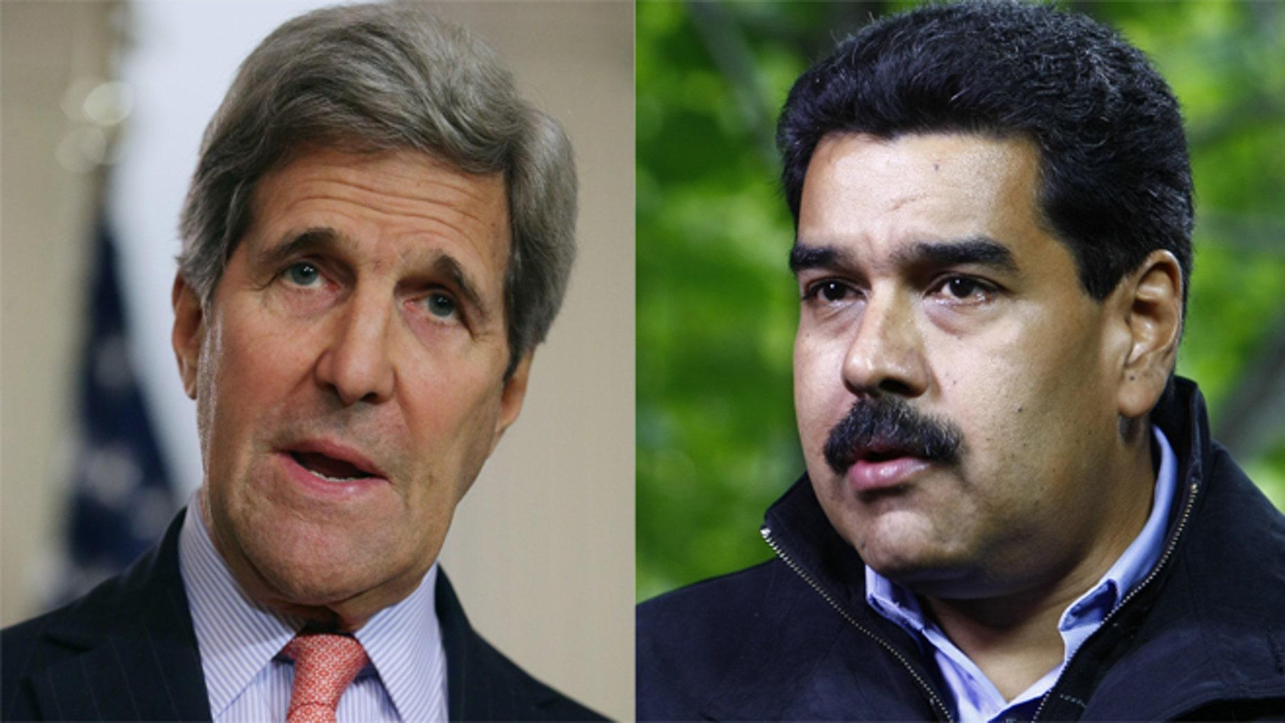 left: Secretary of State John Kerry; right: Venezuelan President Nicolas Maduro