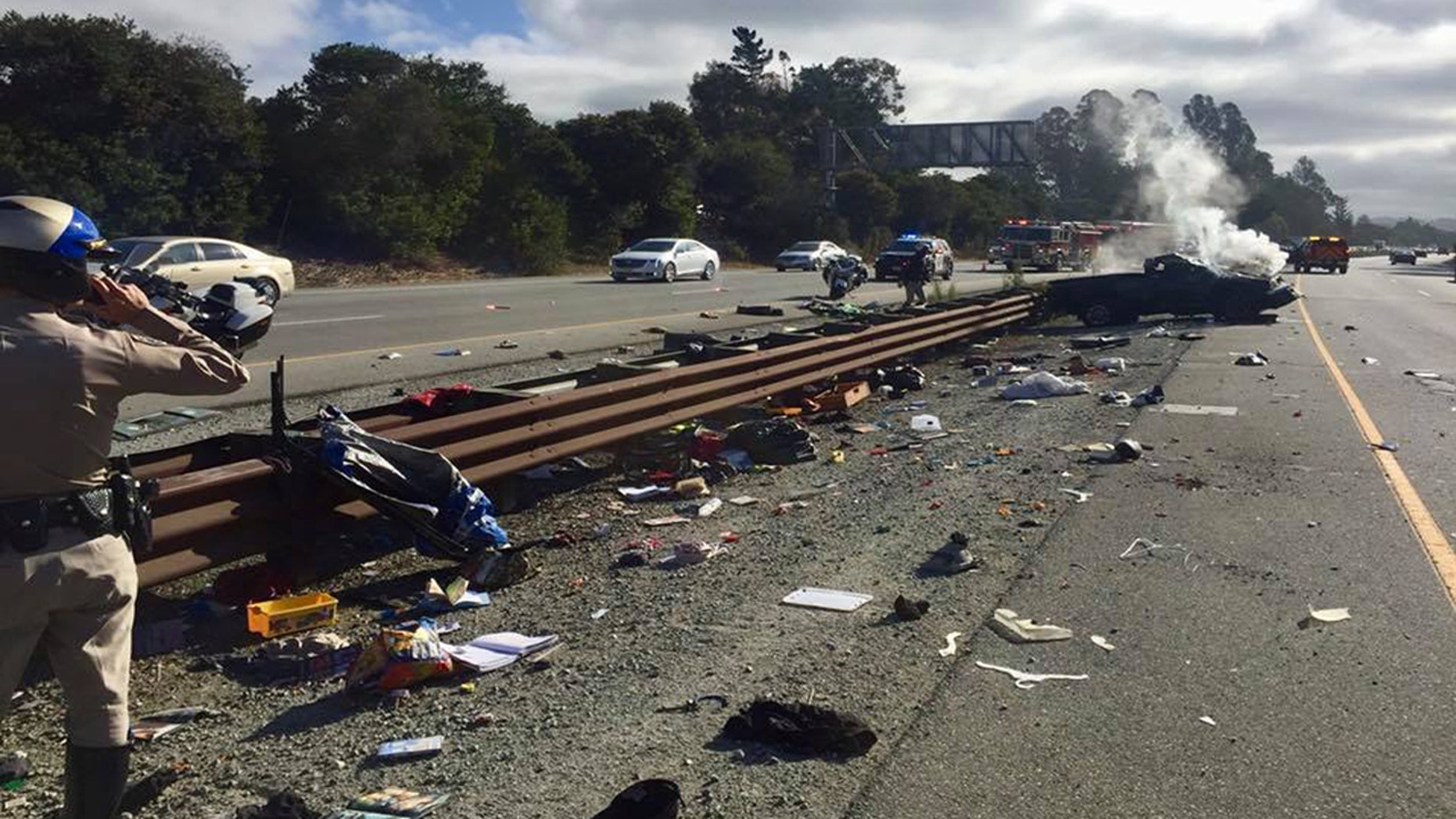 A boy, 5, was ejected from a truck that rolled over multiple times on a California highway on Tuesday, police said.