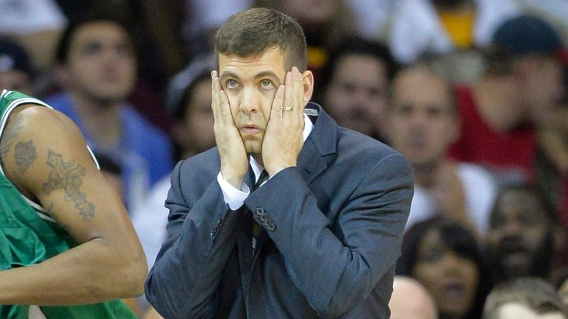 Apr 21, 2015; Cleveland, OH, USA; Boston Celtics head coach Brad Stevens reacts in the fourth quarter against the Cleveland Cavaliers in game two of the first round of the NBA Playoffs at Quicken Loans Arena. Mandatory Credit: David Richard-USA TODAY Sports