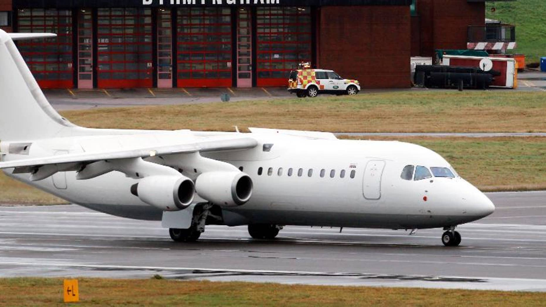 FILE - This is a Nov. 11, 2012 file photo taken at Birmingham Airport in central England of a BAE 146 aircraft similar to the one which has crashed in Colombia Tuesday Nov. 29, 2016.