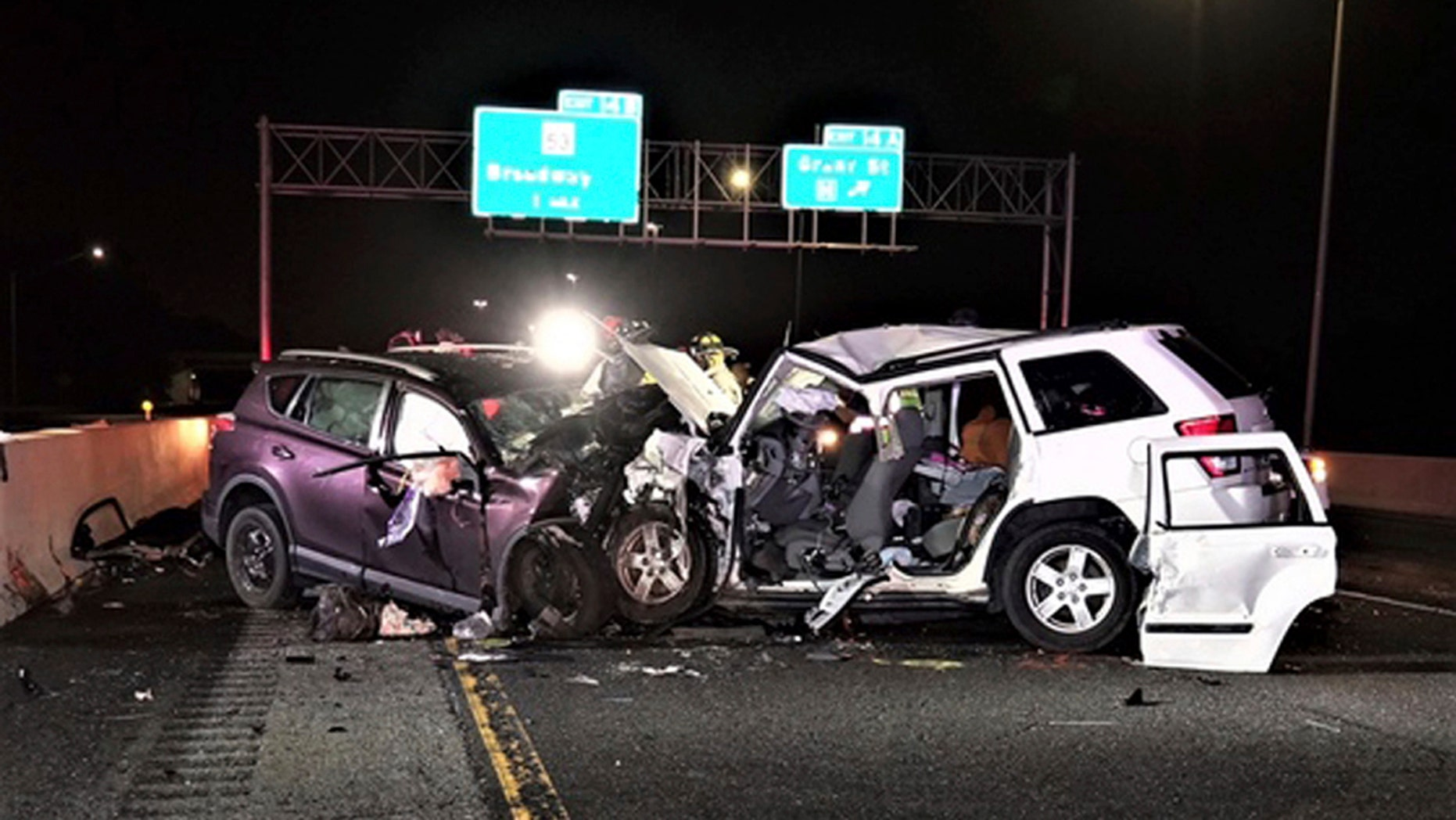 This photo provided by the Indiana State Police shows the scene of a crash on Interstate 90, early Saturday, Sept. 1, 2018 in Gary, Ind.