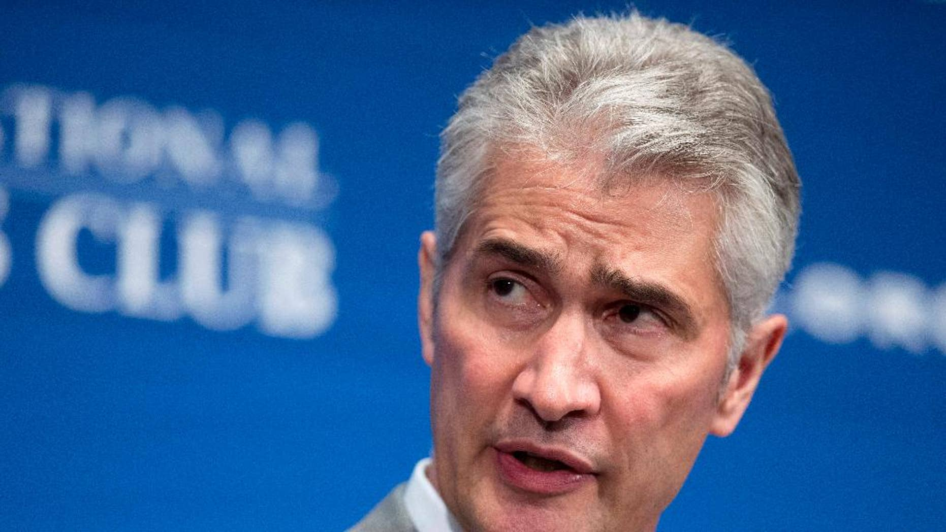 FILE - In this May 15, 2015, file photo, United Airlines Chairman, President and Chief Executive Officer Jeff Smisek, speaks during a panel discussion on unfair international competition at the National Press Club in Washington. United Airlines said Tuesday, Sept. 8, 2015, that Smisek has stepped down as CEO, chairman and president effective immediately and has named Oscar Munoz as president and chief executive officer.  (AP Photo/Manuel Balce Ceneta, File)