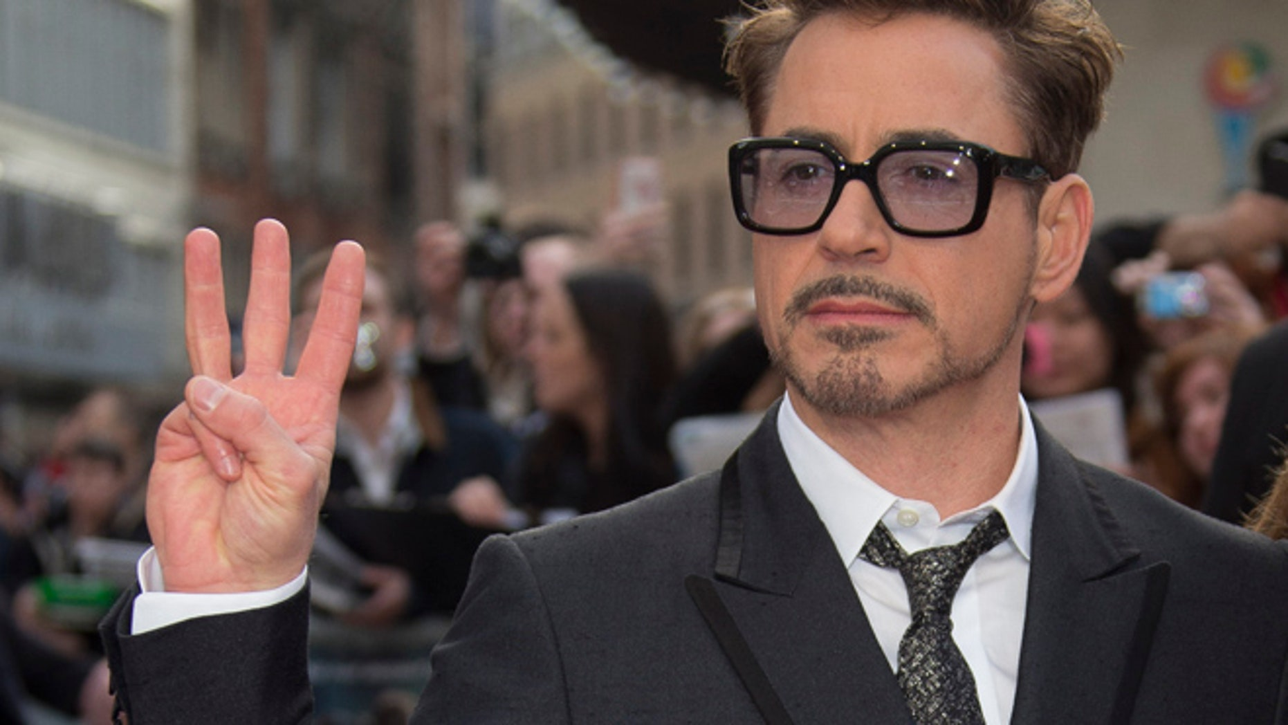 US actor Robert Downey Jr arrives for the UK premiere of Iron Man 3, at a central London cinema, Thursday, April 18, 2013. (Photo by Joel Ryan/Invision/AP)
